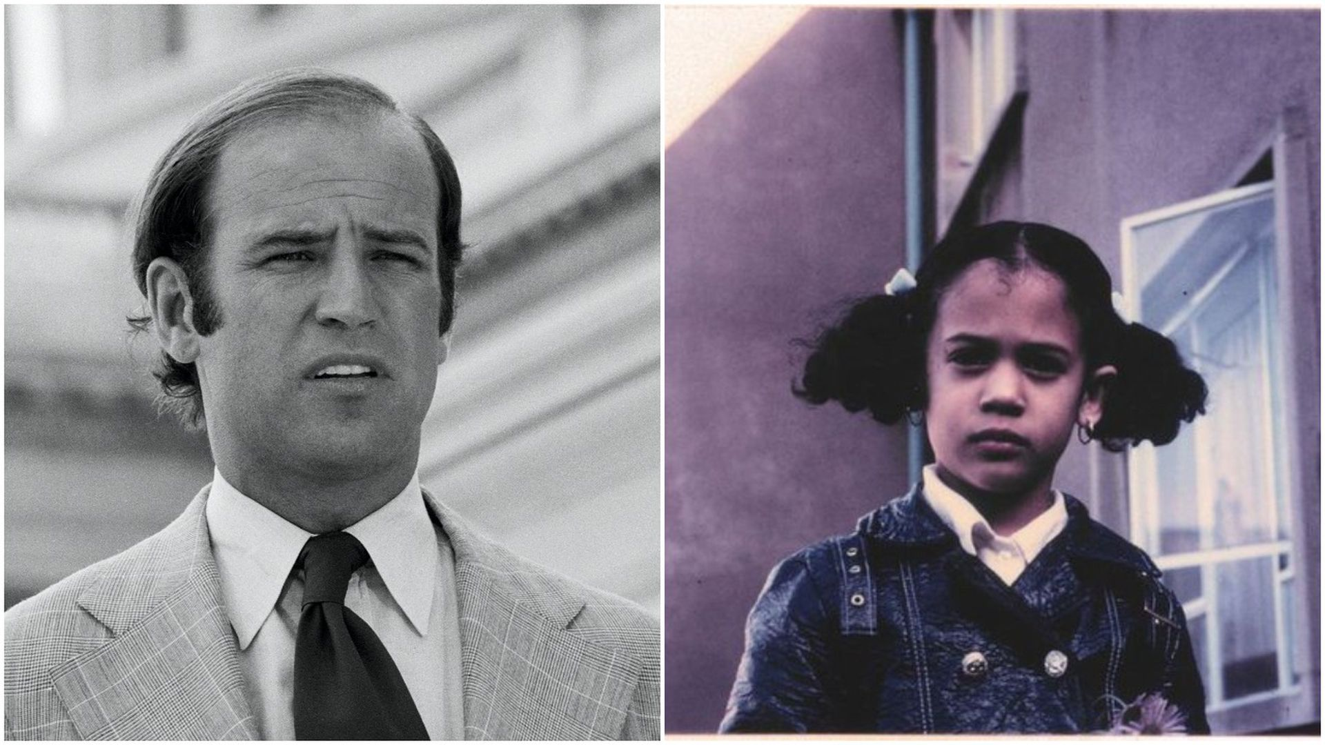 Then-Senator Joe Biden in 1974 and a young Kamala Harris