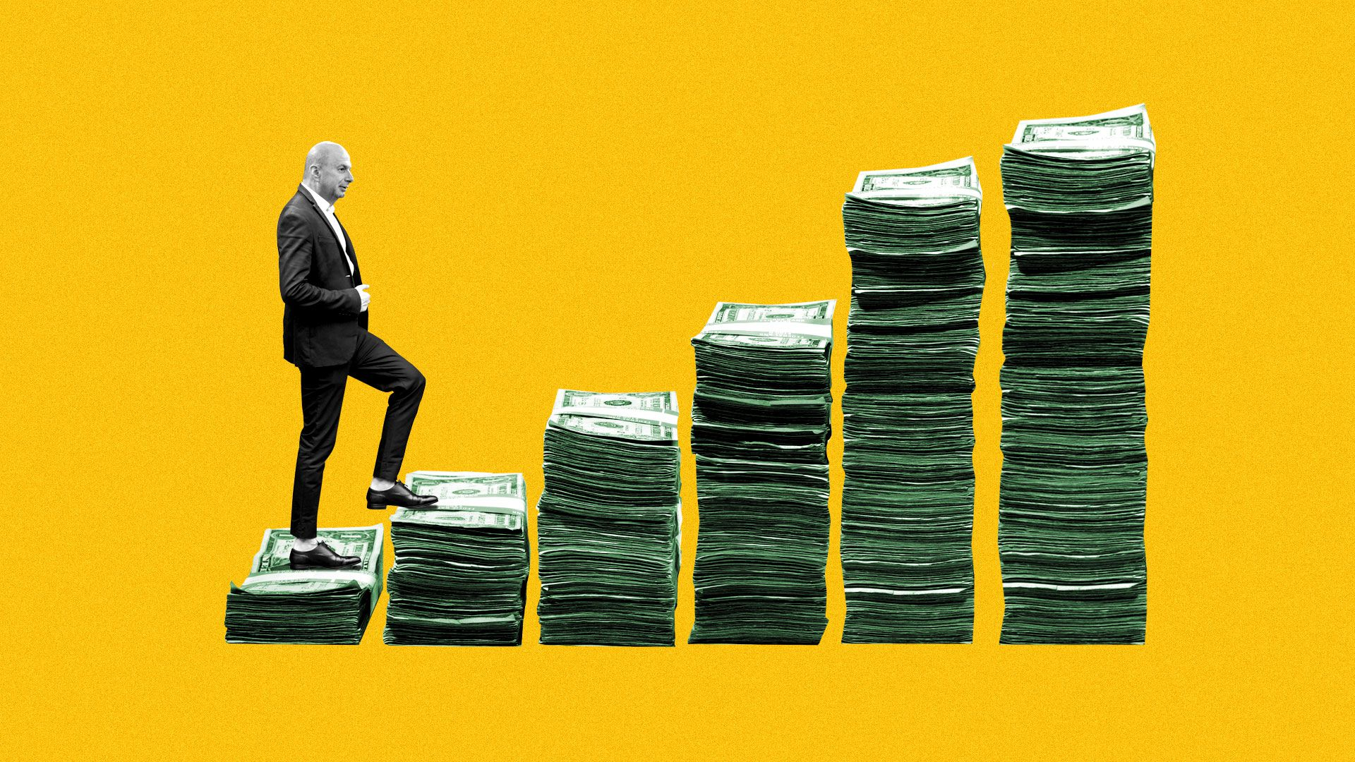 Illustration of Gordon Sondland climbing up stairs made of money.