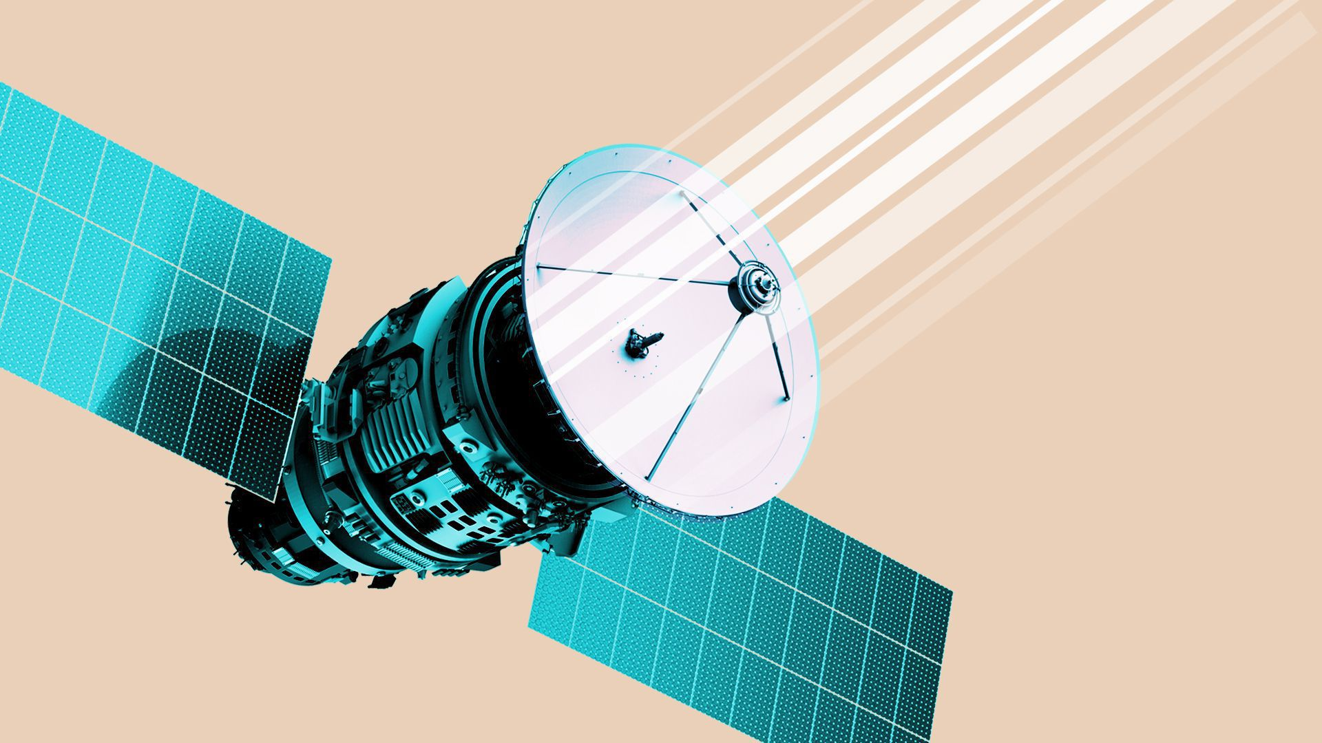 In this illustration, a satellite points white beams into the sky.