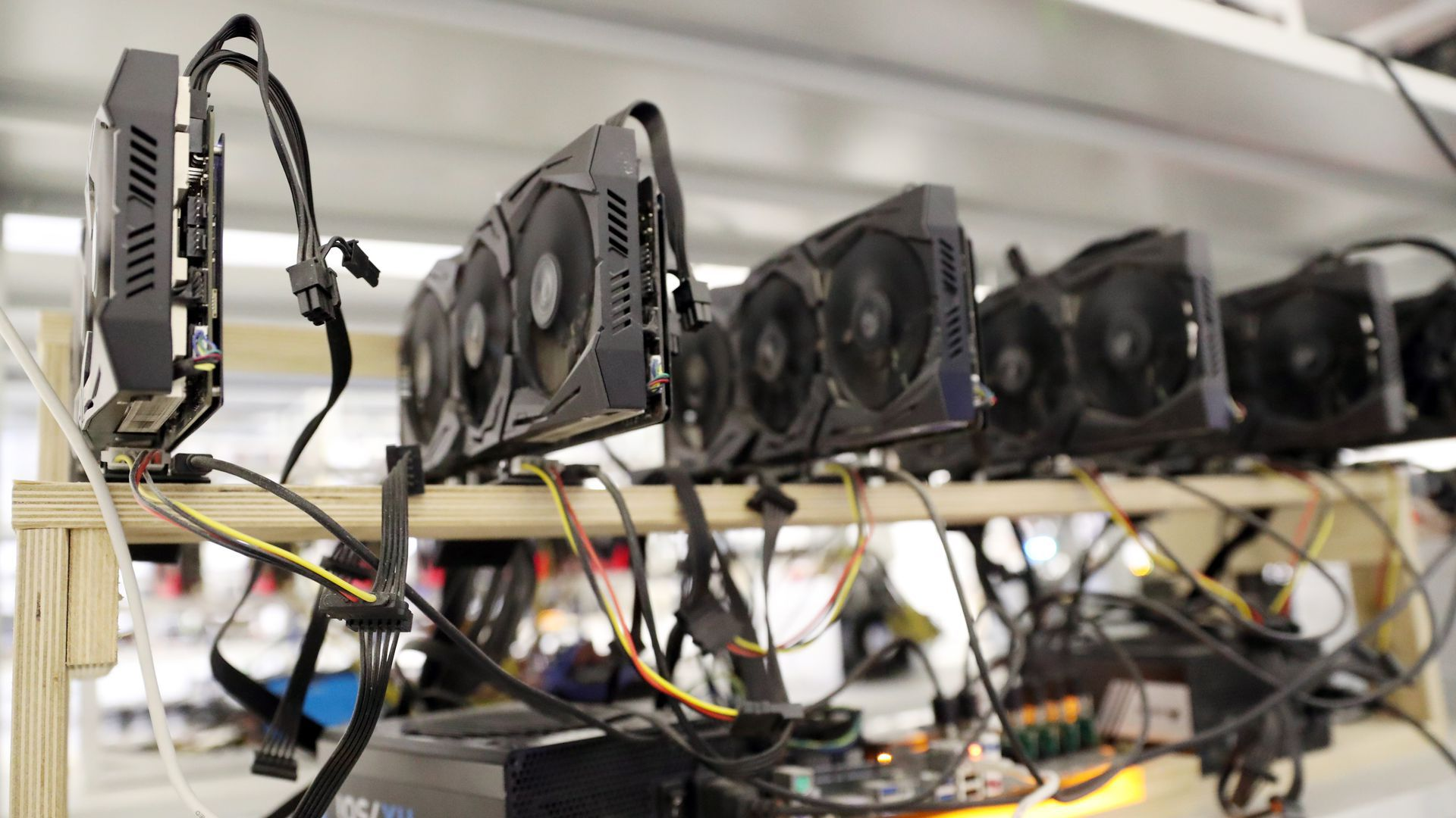 Hardware at the SberBit cryptocurrency mining equipment facility in Moscow.