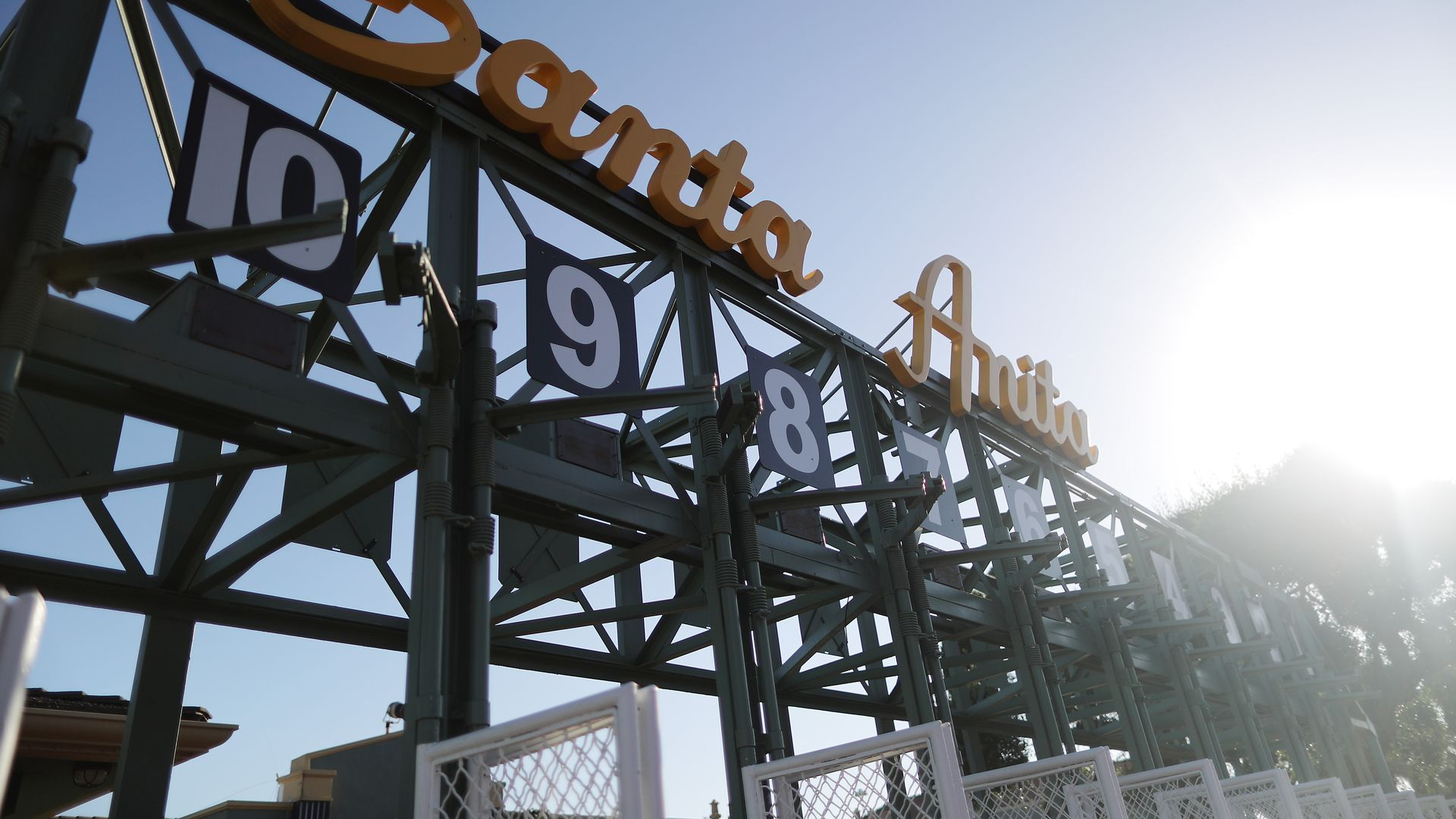 A starting gate stands outside the track on the final day of the winter/spring horse racing season at Santa Anita Park on June 23, 2019 in Arcadia, California.