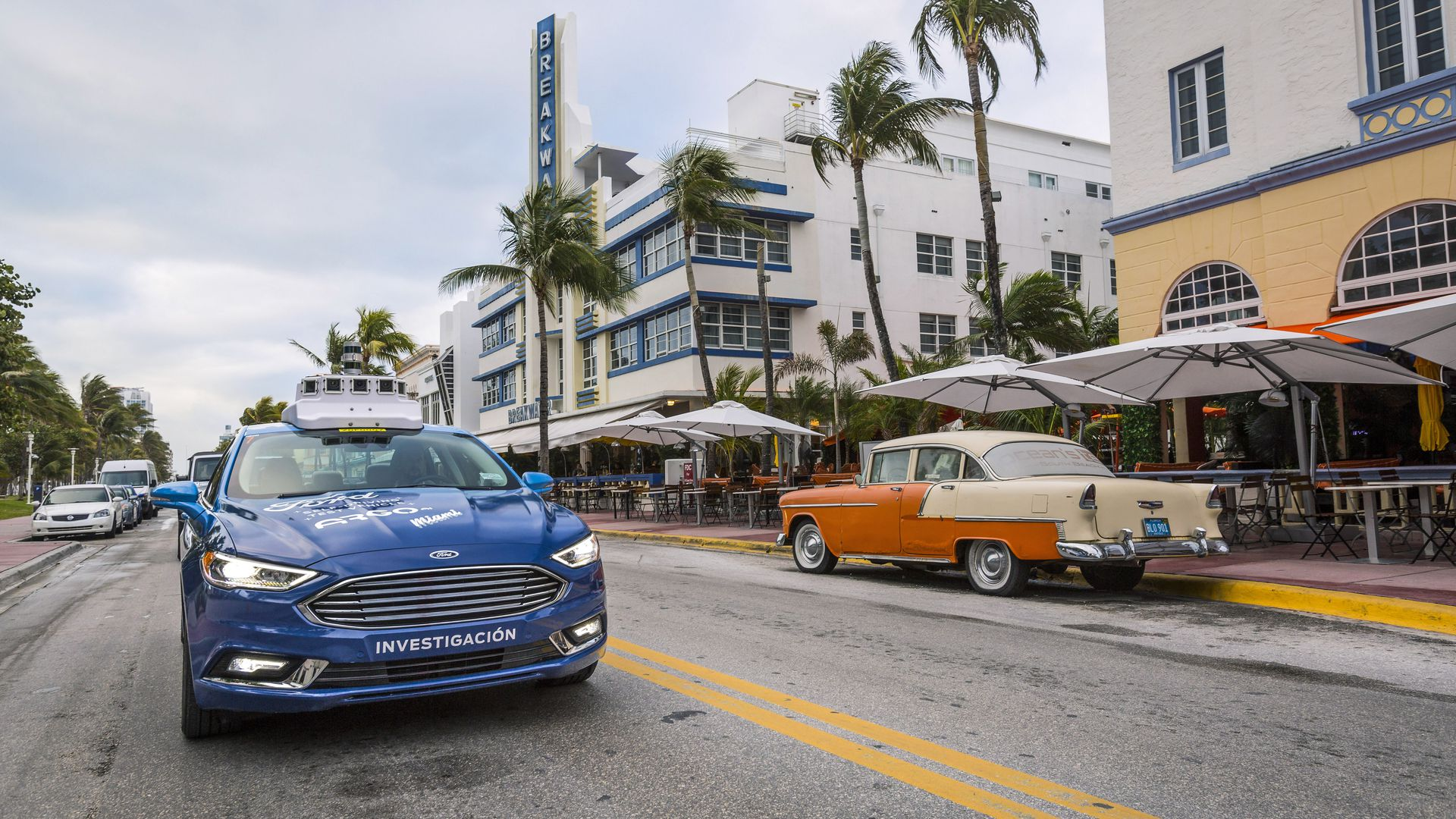 Image of Ford self-driving test vehicle in Miami