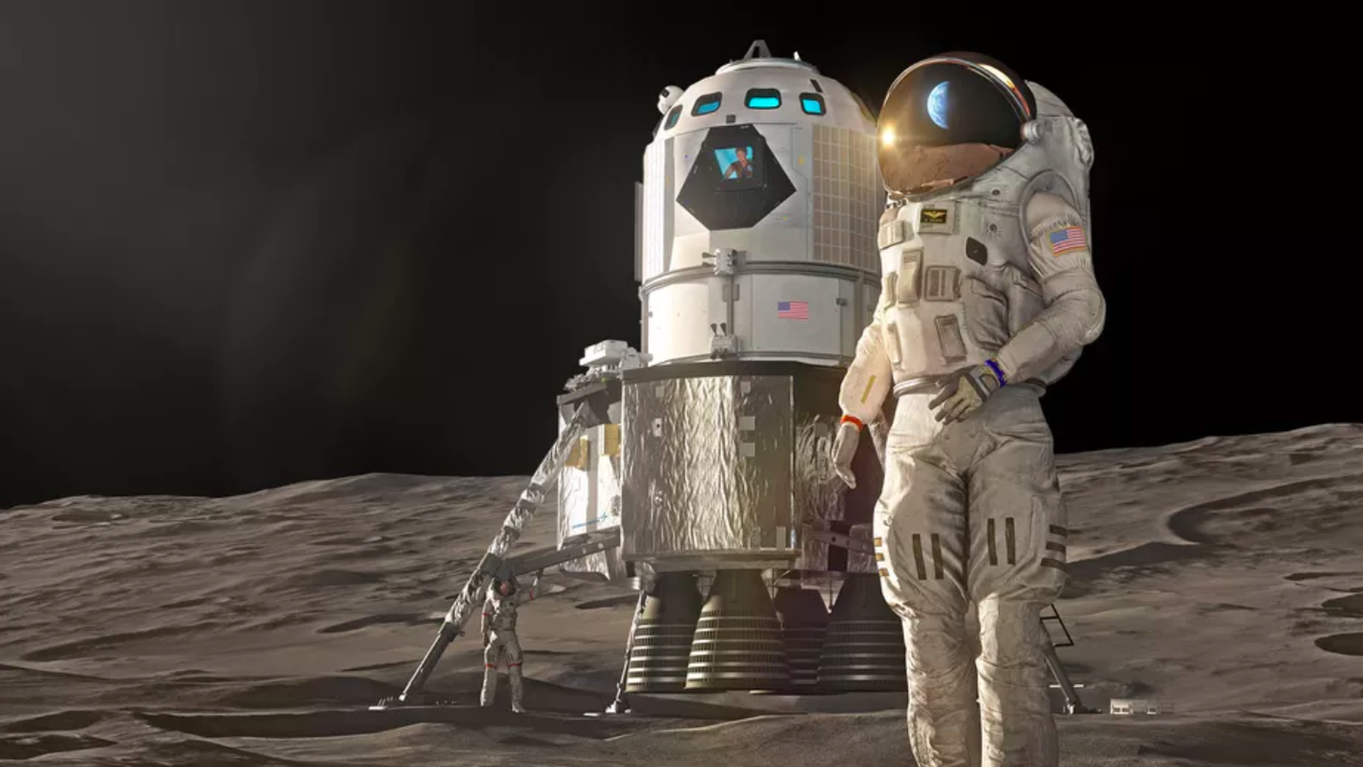 In this illustration, an astronaut stands on the moon and watches the Earth, which is reflected in their helmet.