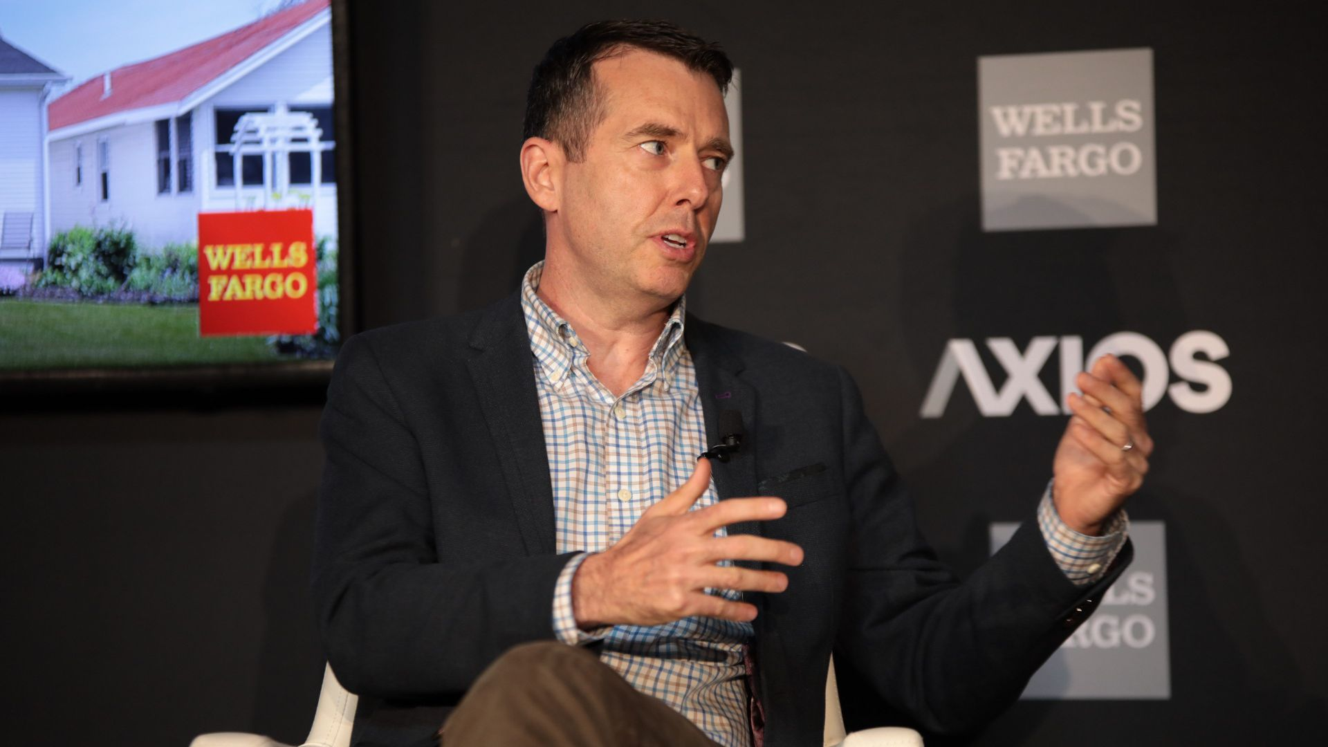 Chan Zuckerberg Initiative President of Policy and Advocacy David Plouffe speaks at an Axios event.