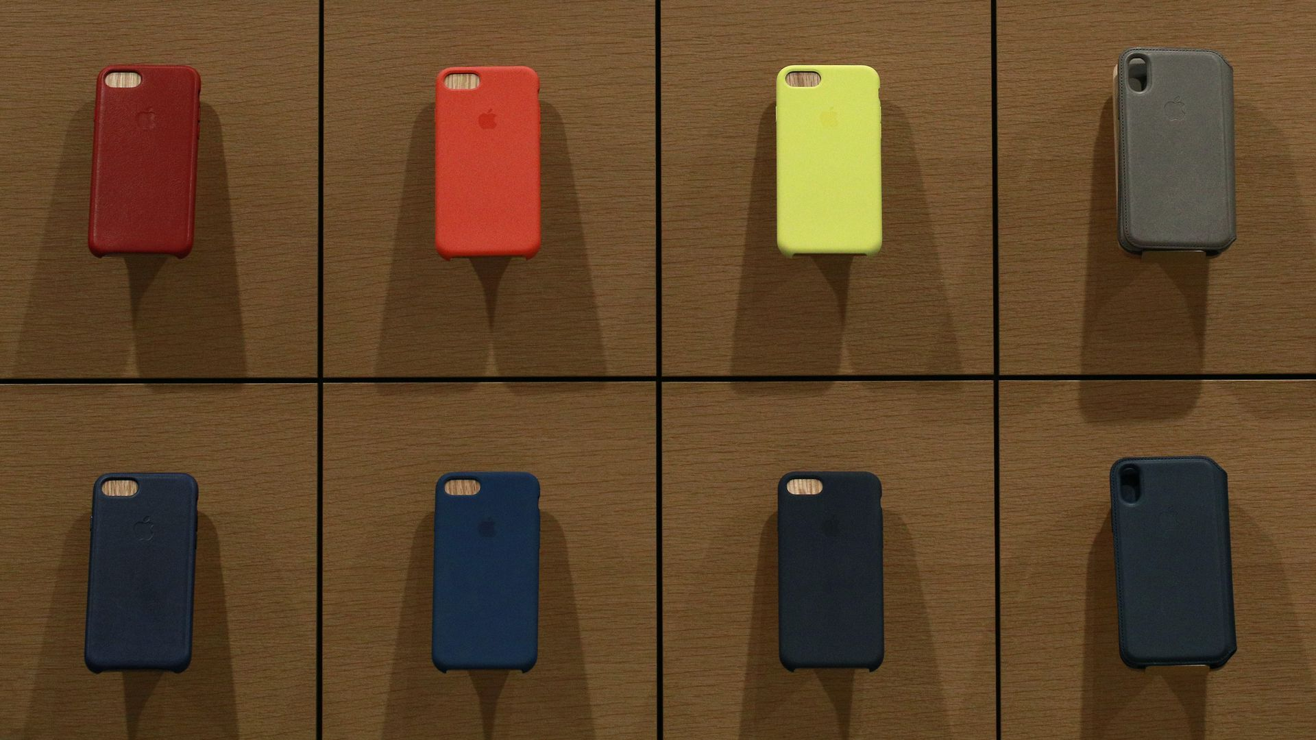 Phone cases at an Apple Store