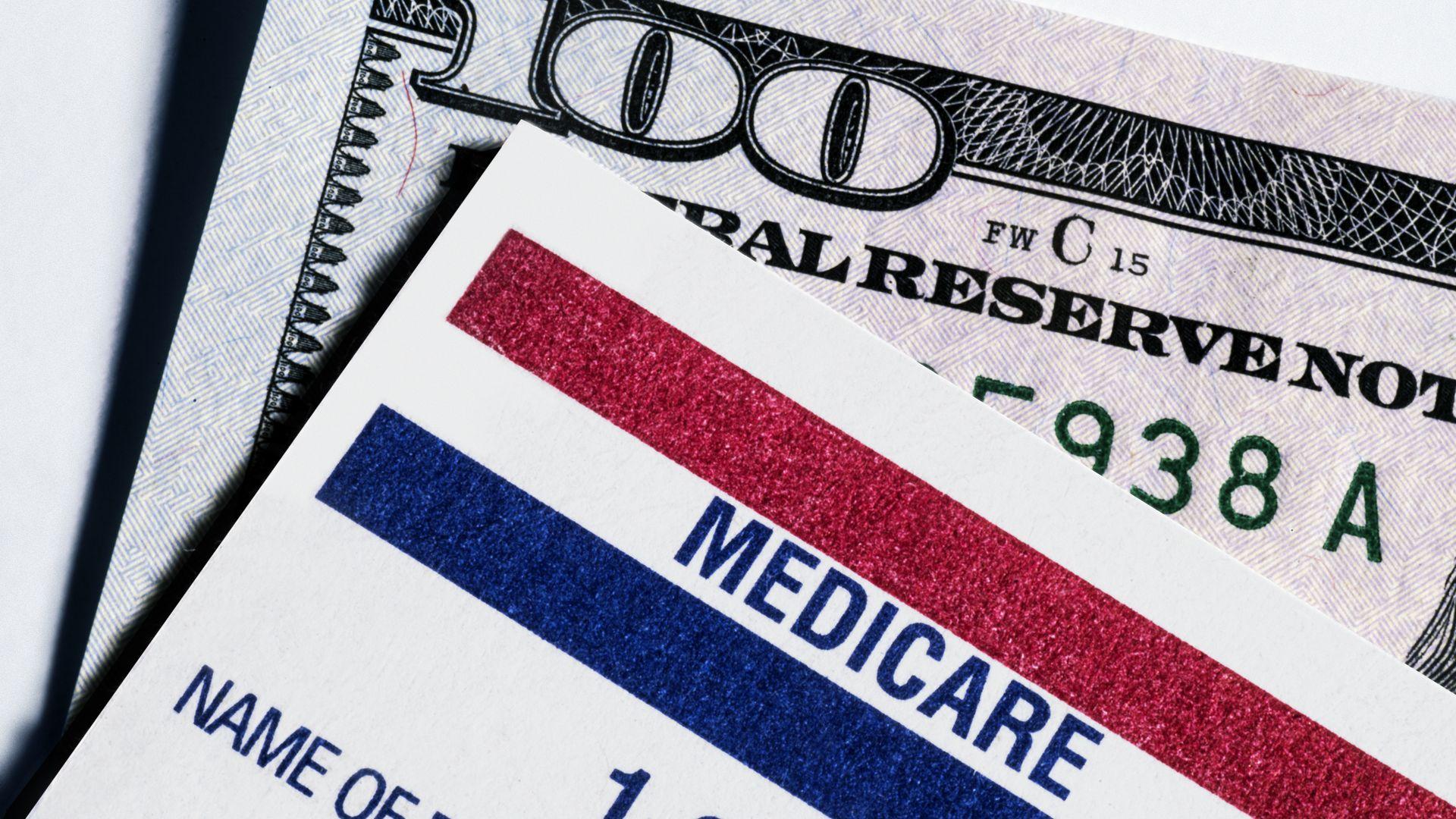 Medicare card on top of a hundred dollar bill