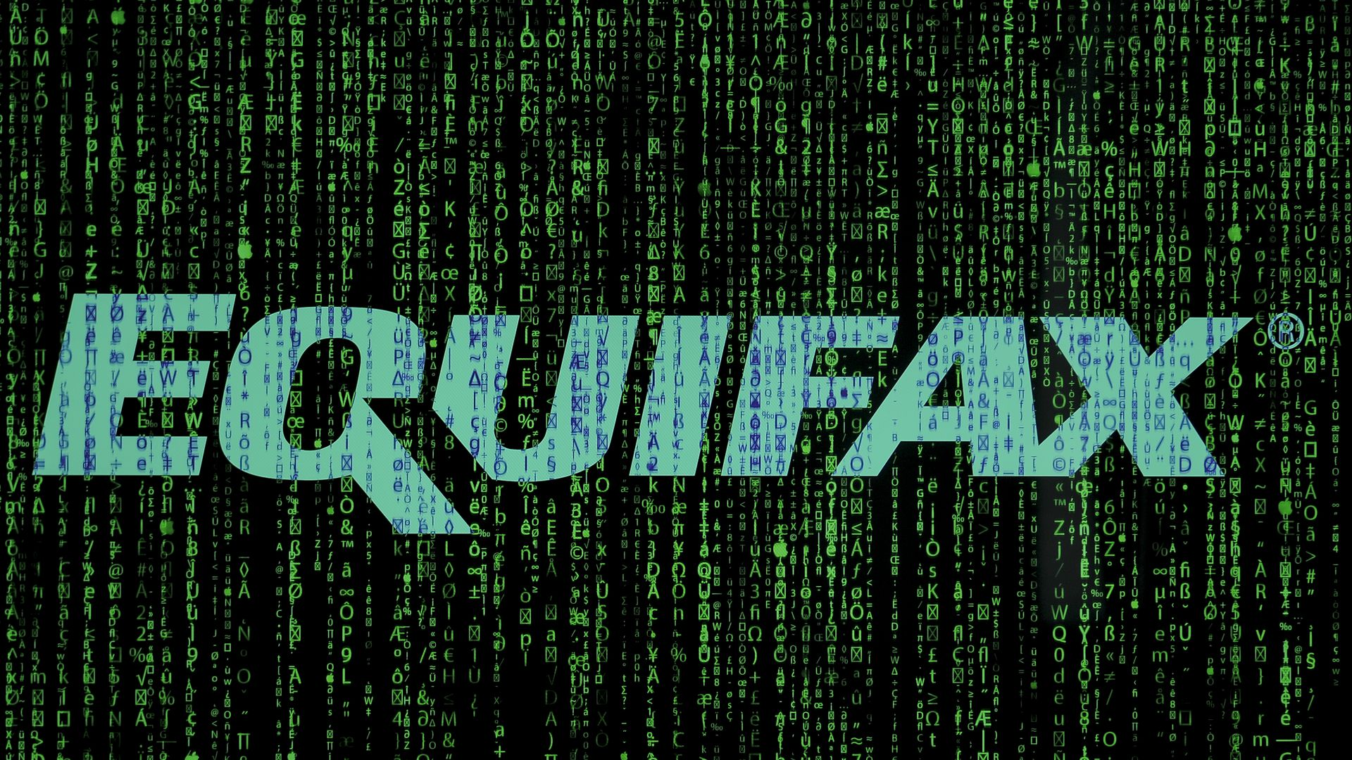 Equifax logo in white before data in green.