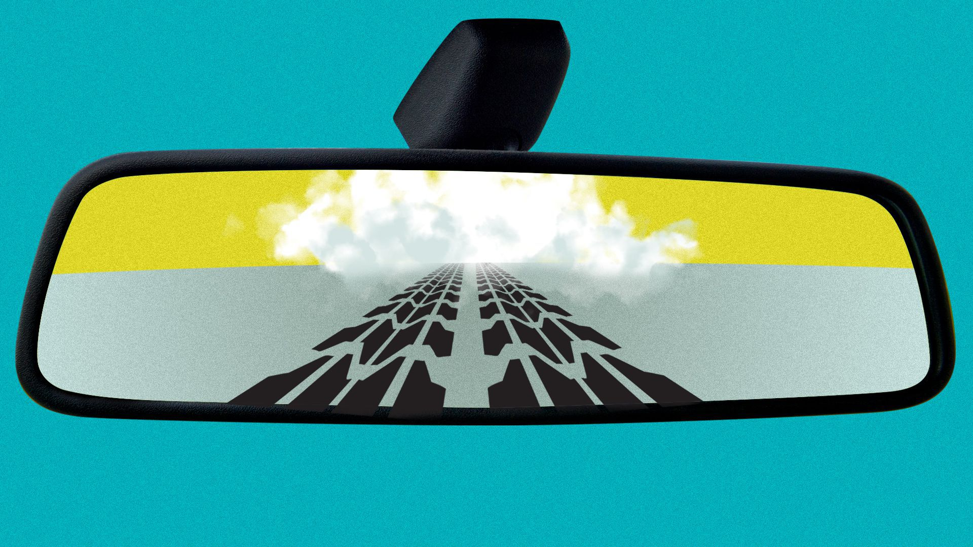 Illustration of a car's rear-view mirror, in which tire tracks and a dust cloud can be seen.