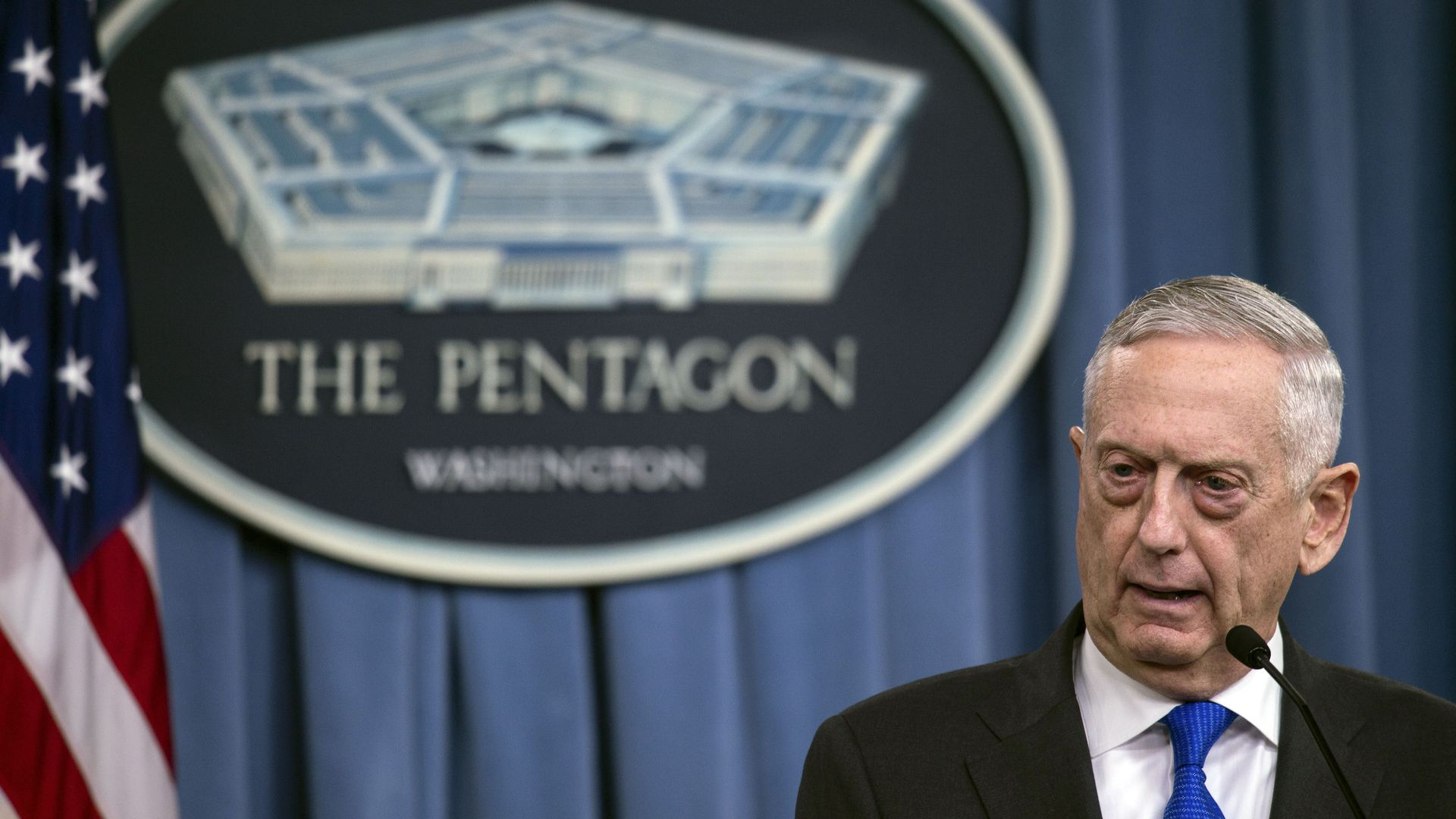 Defense Secretary Jim Mattis holds a press conference at the Pentagon on August 28, 2018.