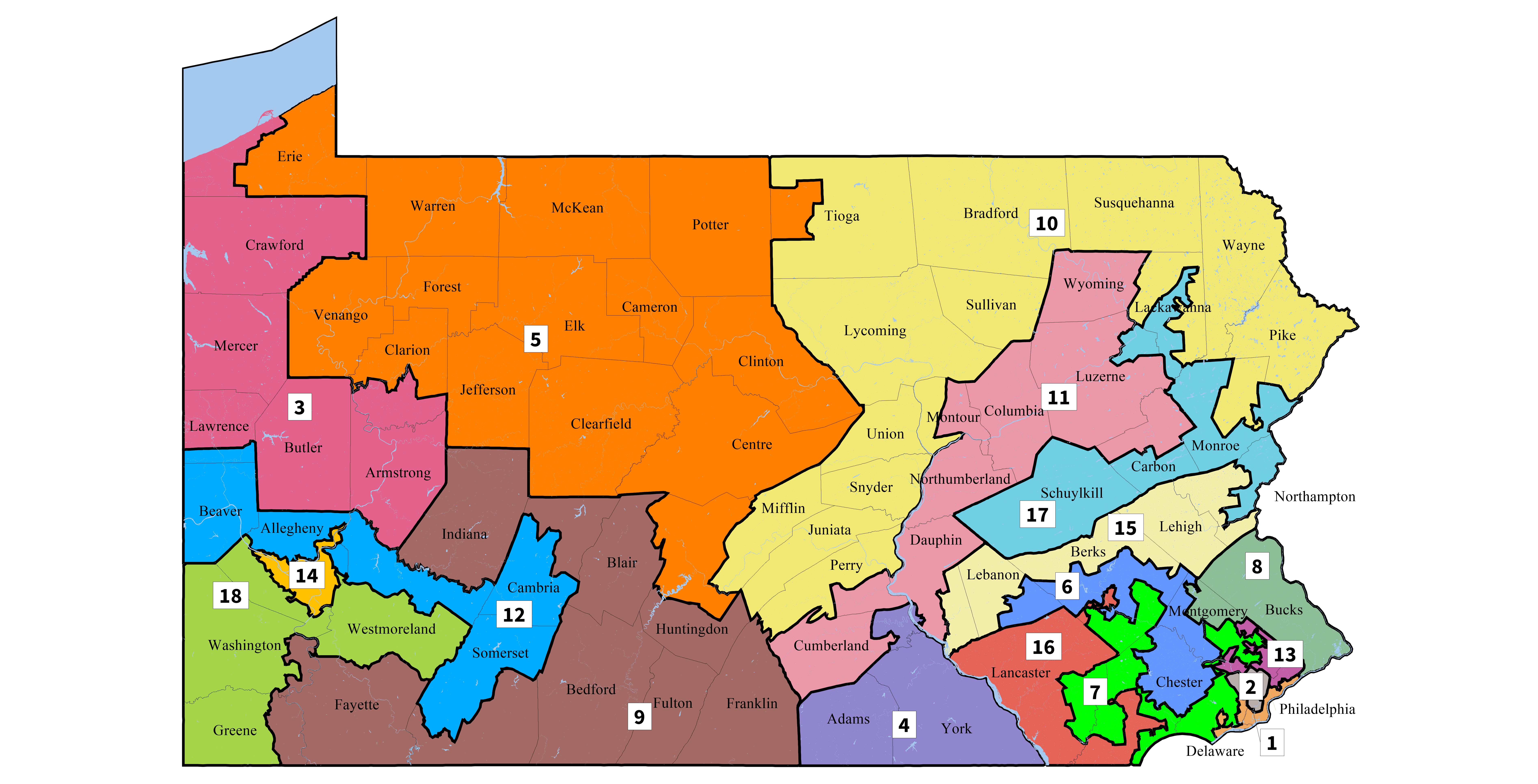 The current Pennsylvania congressional map