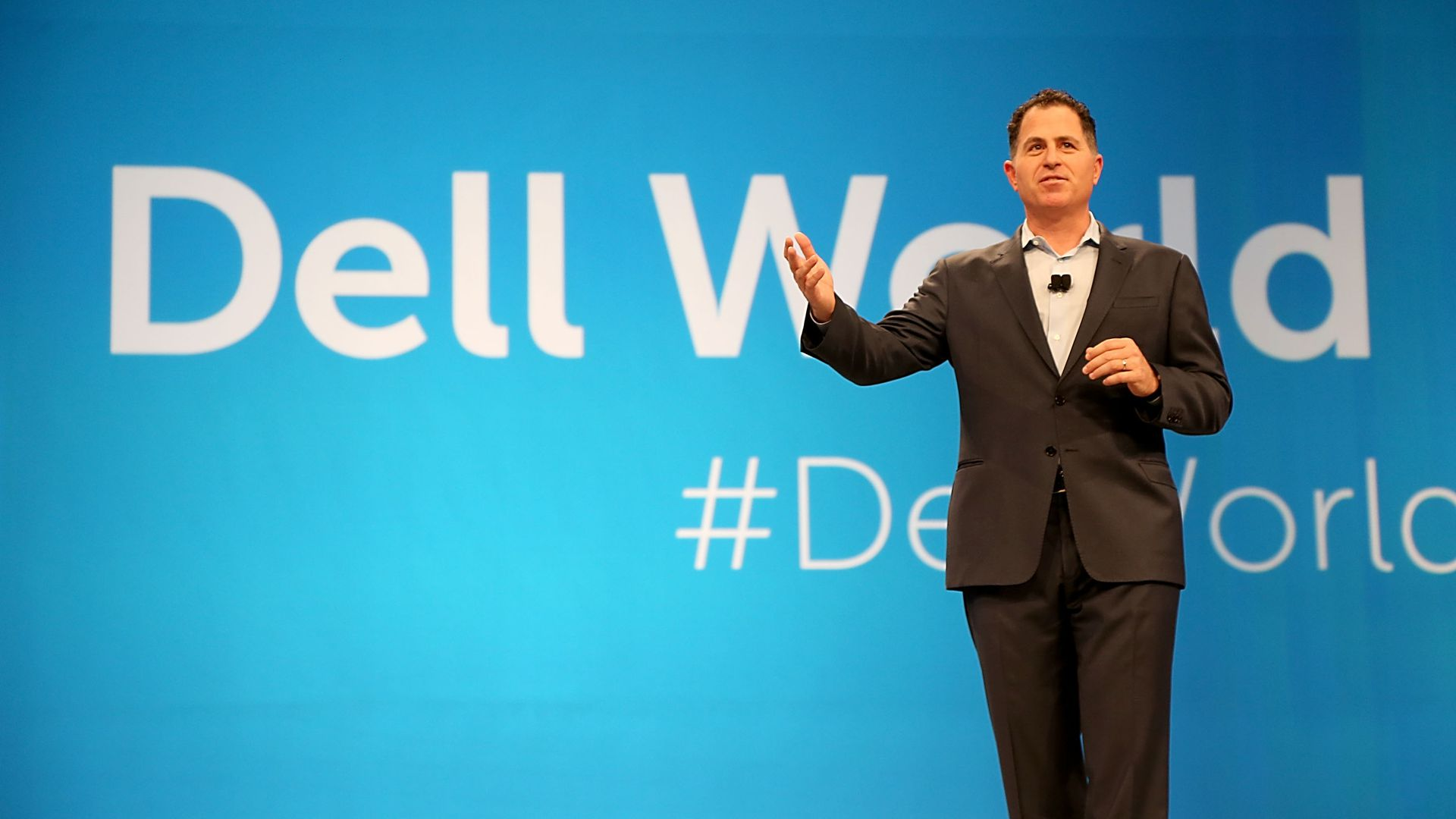 Michael Dell speaking at a company conference.