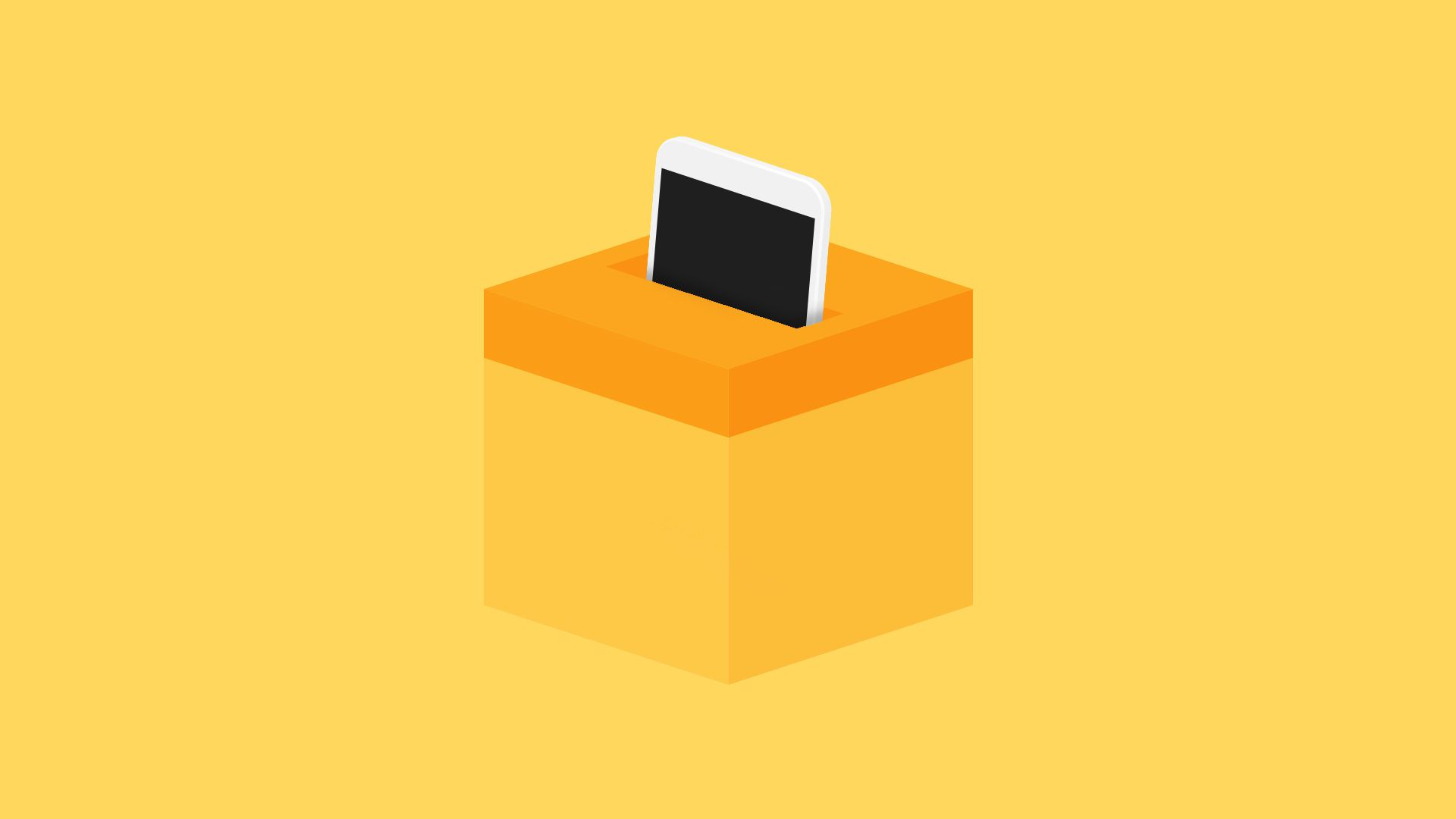 Illustration of phone going into a ballot box