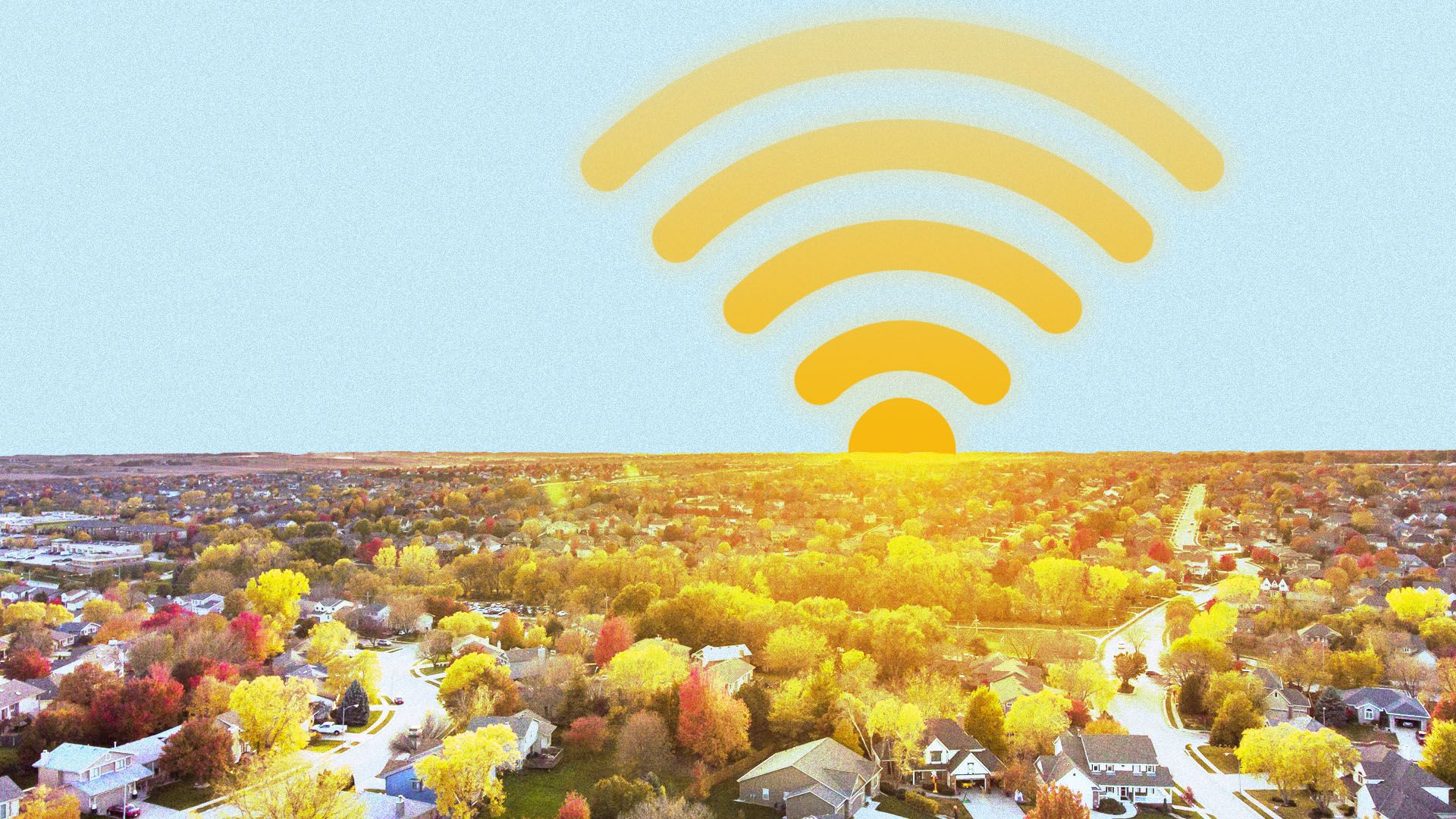 Illustration of a wifi signal over a neighborhood