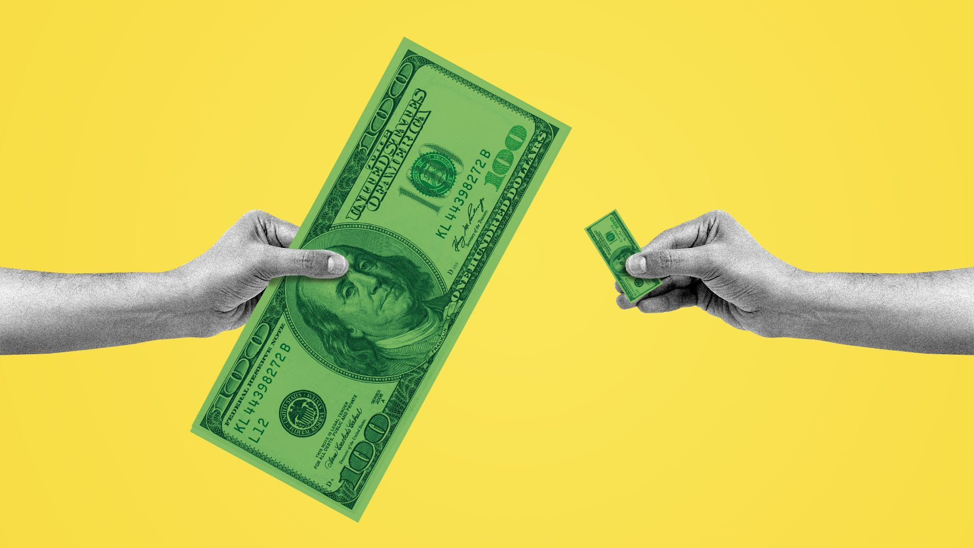 Illustration of two hands exchanging different size bills