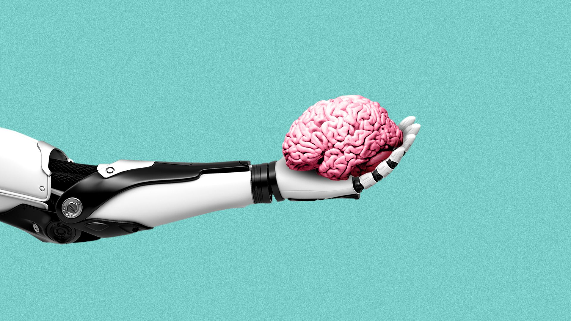 Illustration of a robot arm holding a brain.