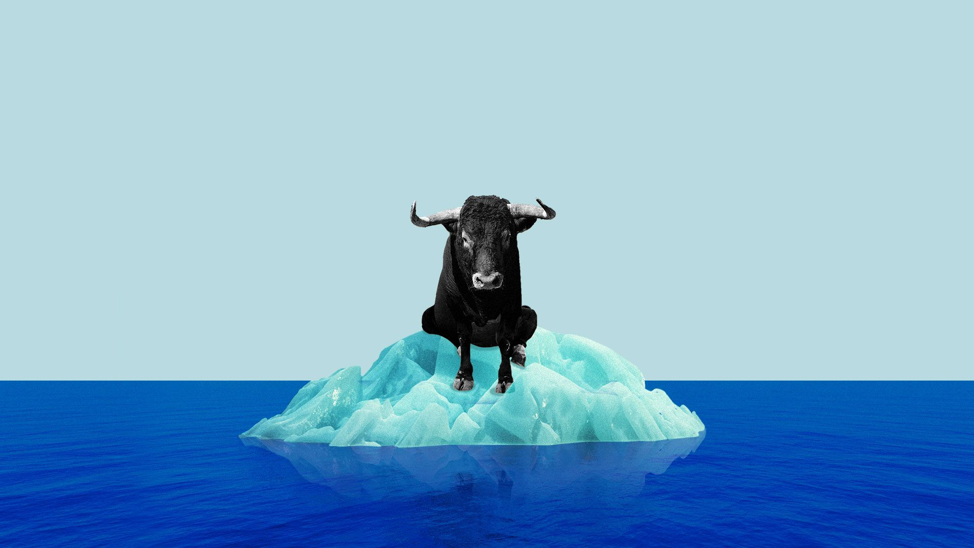 Illustration of a bull sitting on a very small iceberg surrounded by water