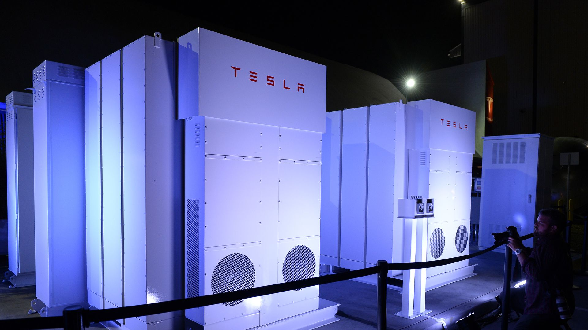 The Powerpack system which powered the news conference in seen after Elon Musk, CEO of Tesla unveiled suit of batteries for homes, businesses, and utilities at Tesla Design Studio
