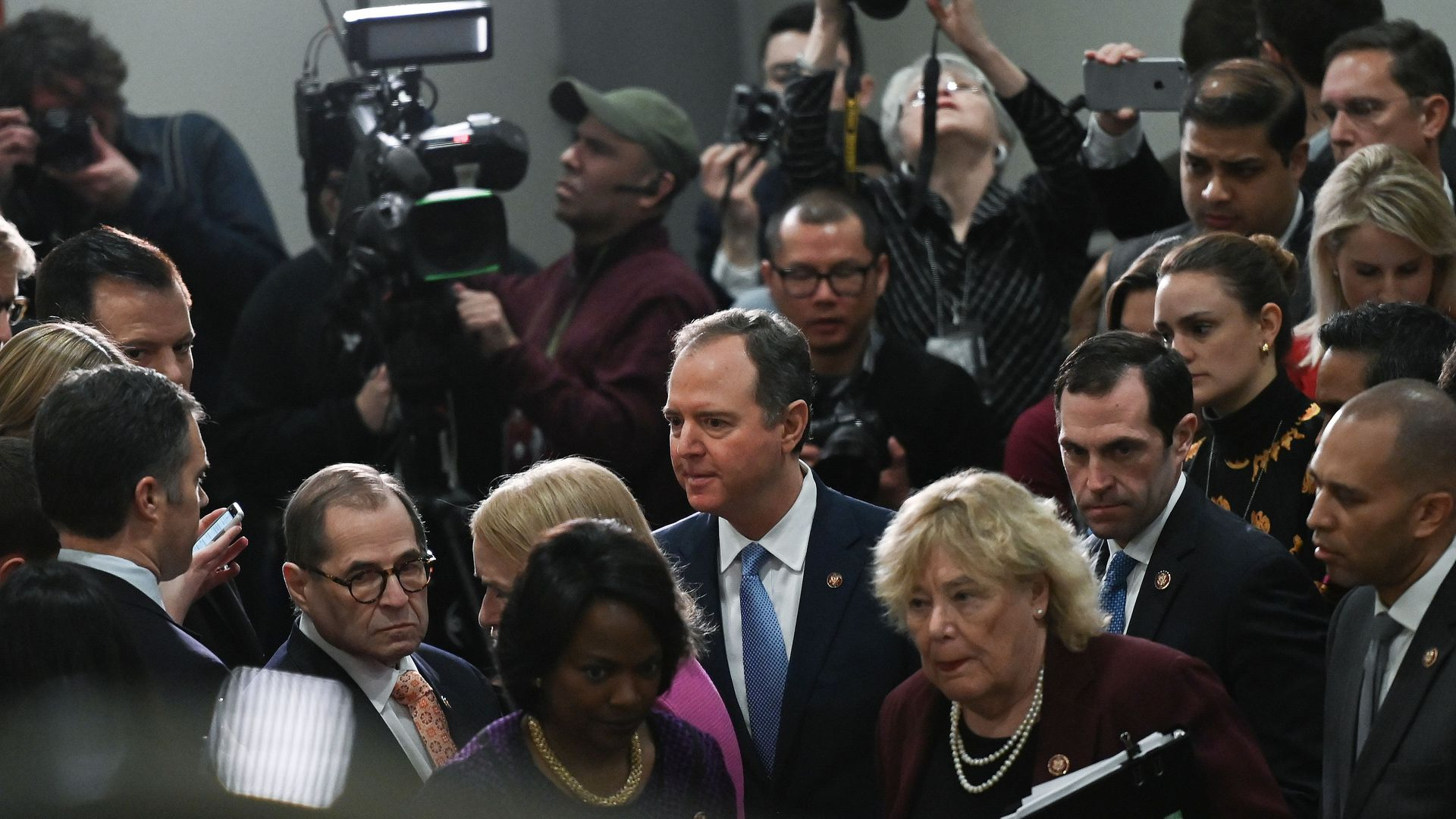 Rep. Adam Schiff (D-Calif.) speaks with reporters on fourth day of President Trump's impeachment trial.