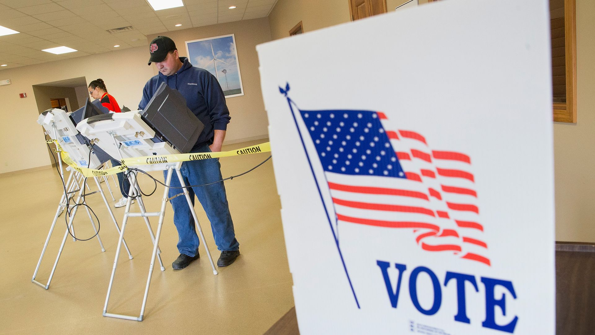 Voters cast their ballots at a polling place in Fowler, Indiana.