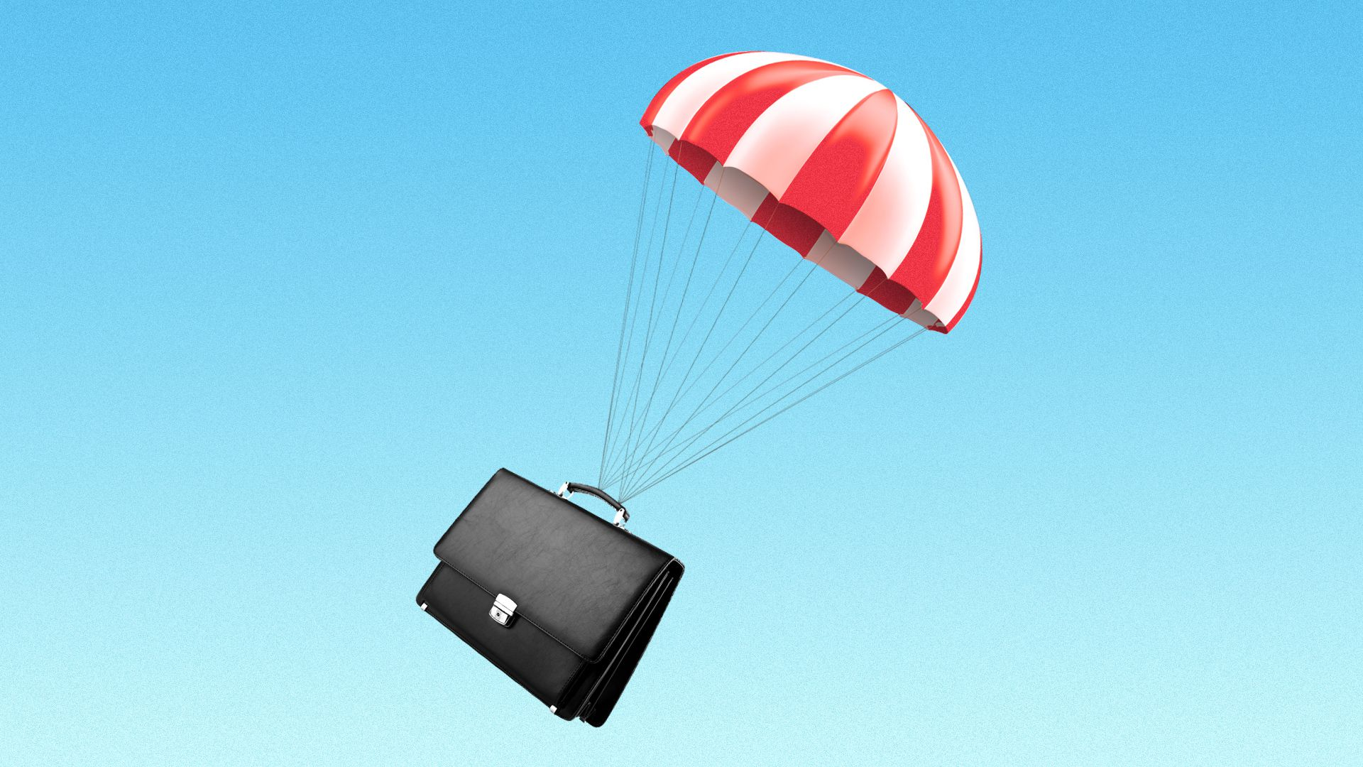 Illustration of a parachute with a briefcase.