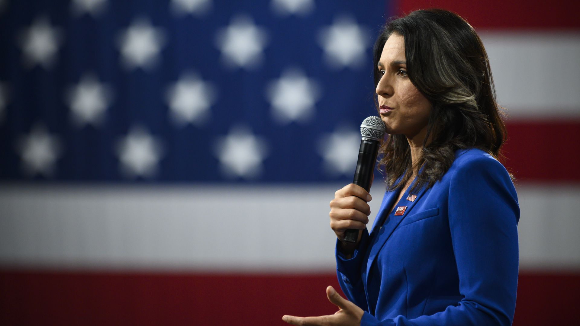Democratic presidential candidate Rep. Tulsi Gabbard (D-HI) speaks during a forum on gun safety at the Iowa Events Center on August 10, 2019 in Des Moines, Iowa.