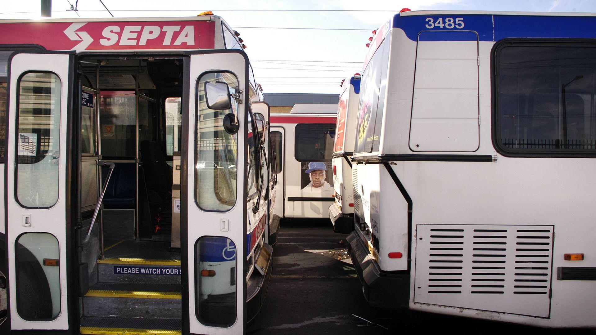 SEPTA buses sit idle.