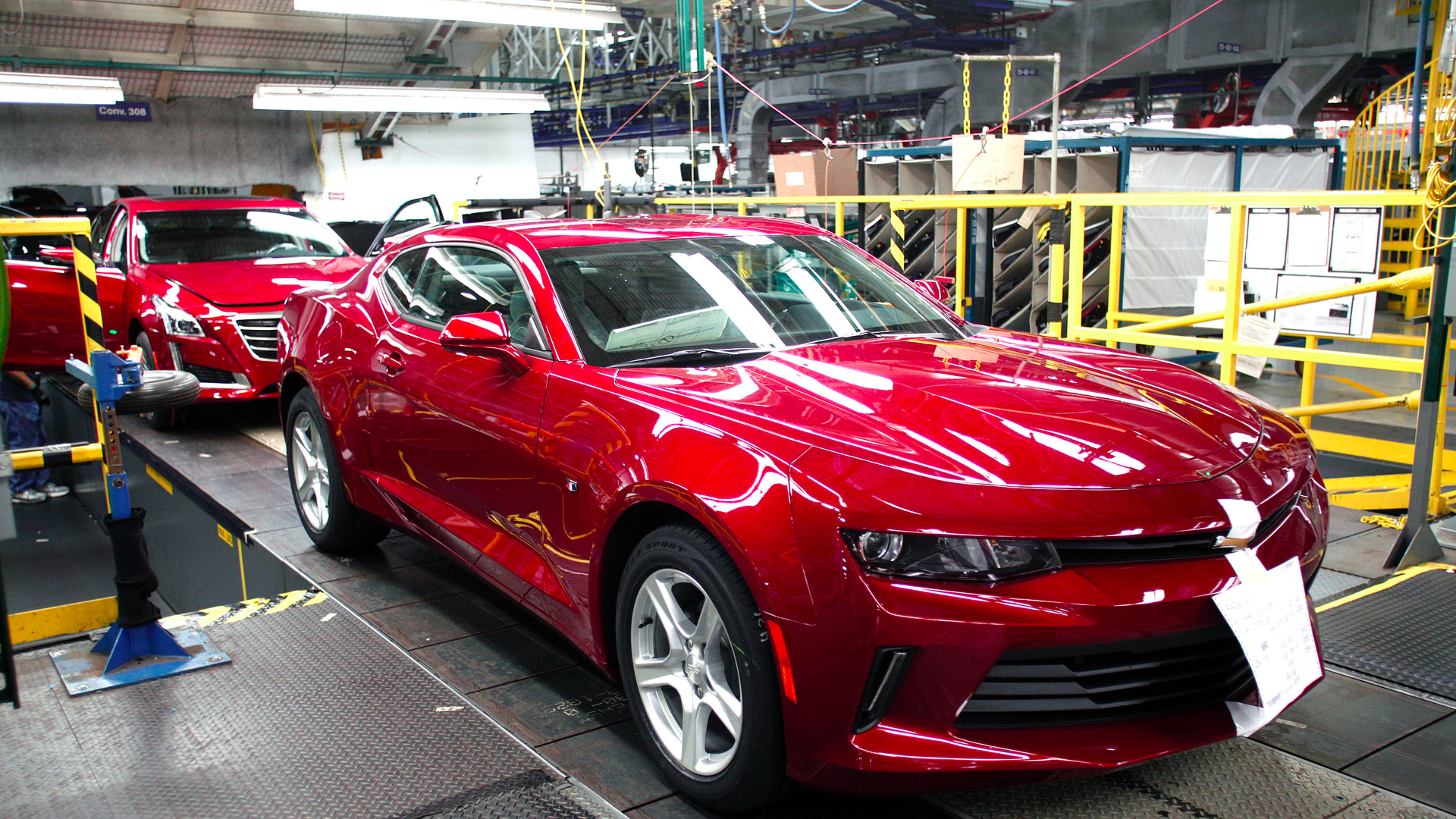 GM car on the assembly line.