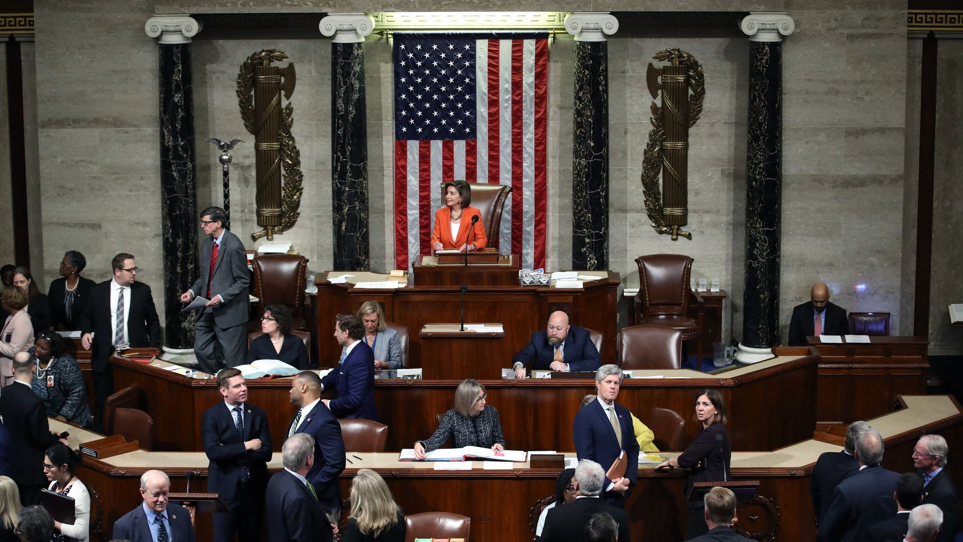 House Speaker Nancy Pelosi presides over the impeachment vote today. Photo: Win McNamee/Getty Images