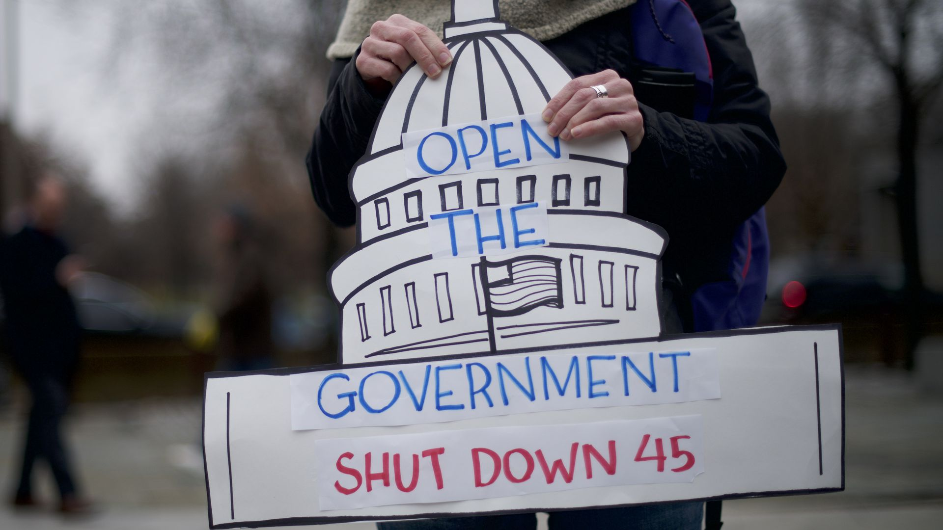 demonstrator holds a sign shaped as the U.S. Capitol building stating 'OPEN THE GOVERNMENT SHUT DOWN 45'