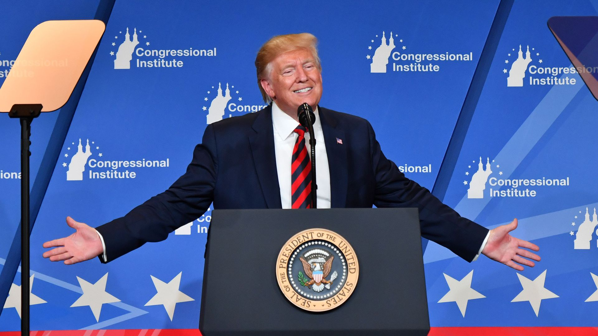 President Donald Trump delivers remarks during the 2019 House Republican Conference Member Retreat Dinner in Baltimore, Maryland on September 12