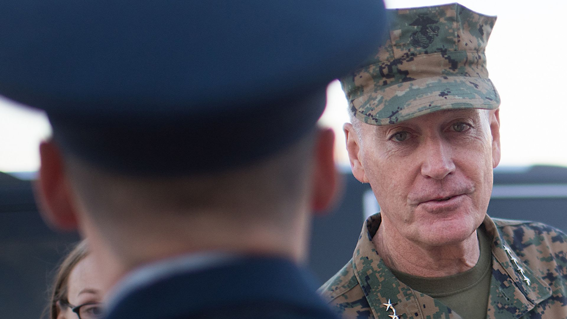 Gen. Joseph Dunford speaks to a soldier