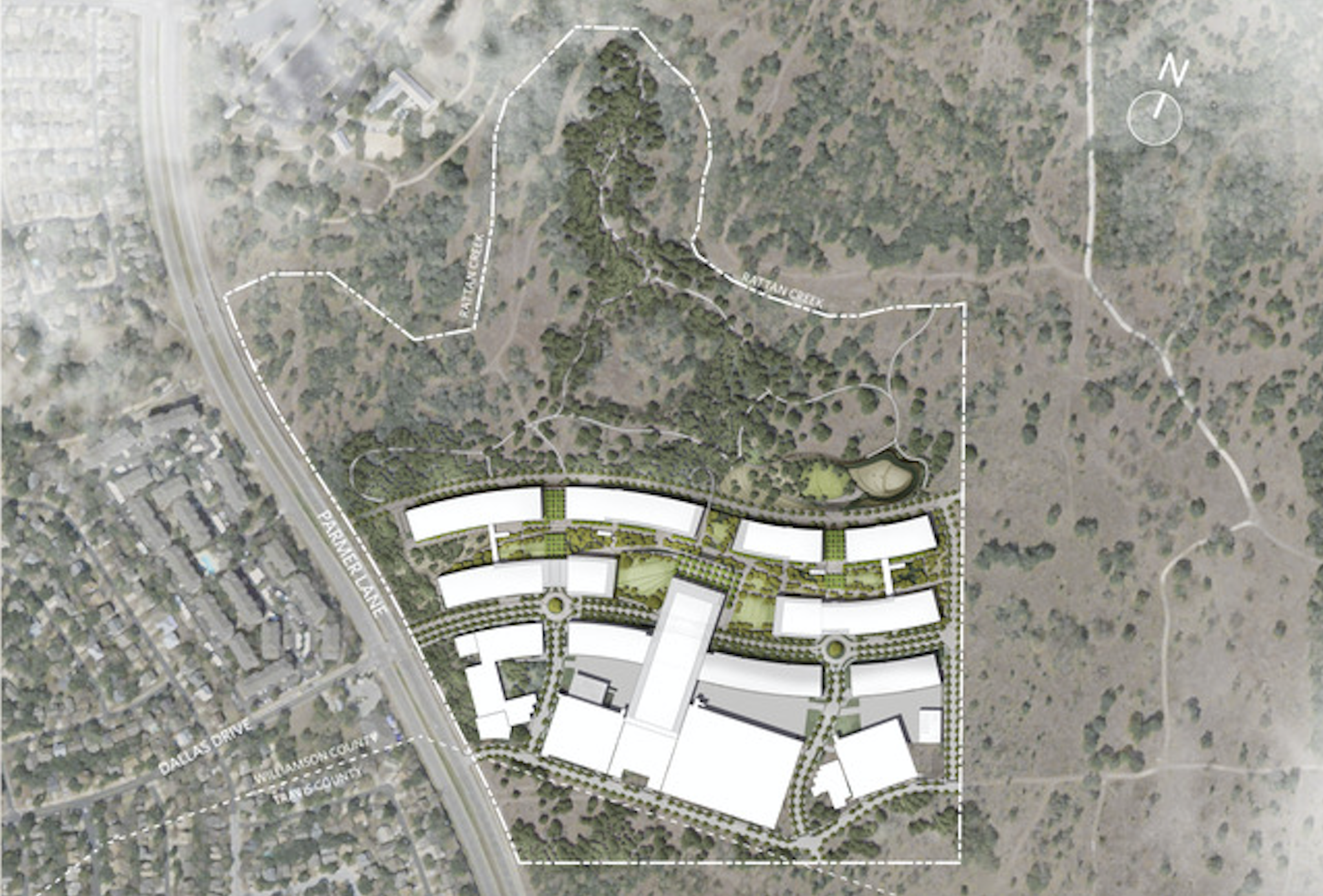 A site map of Apple's planned third campus in Austin