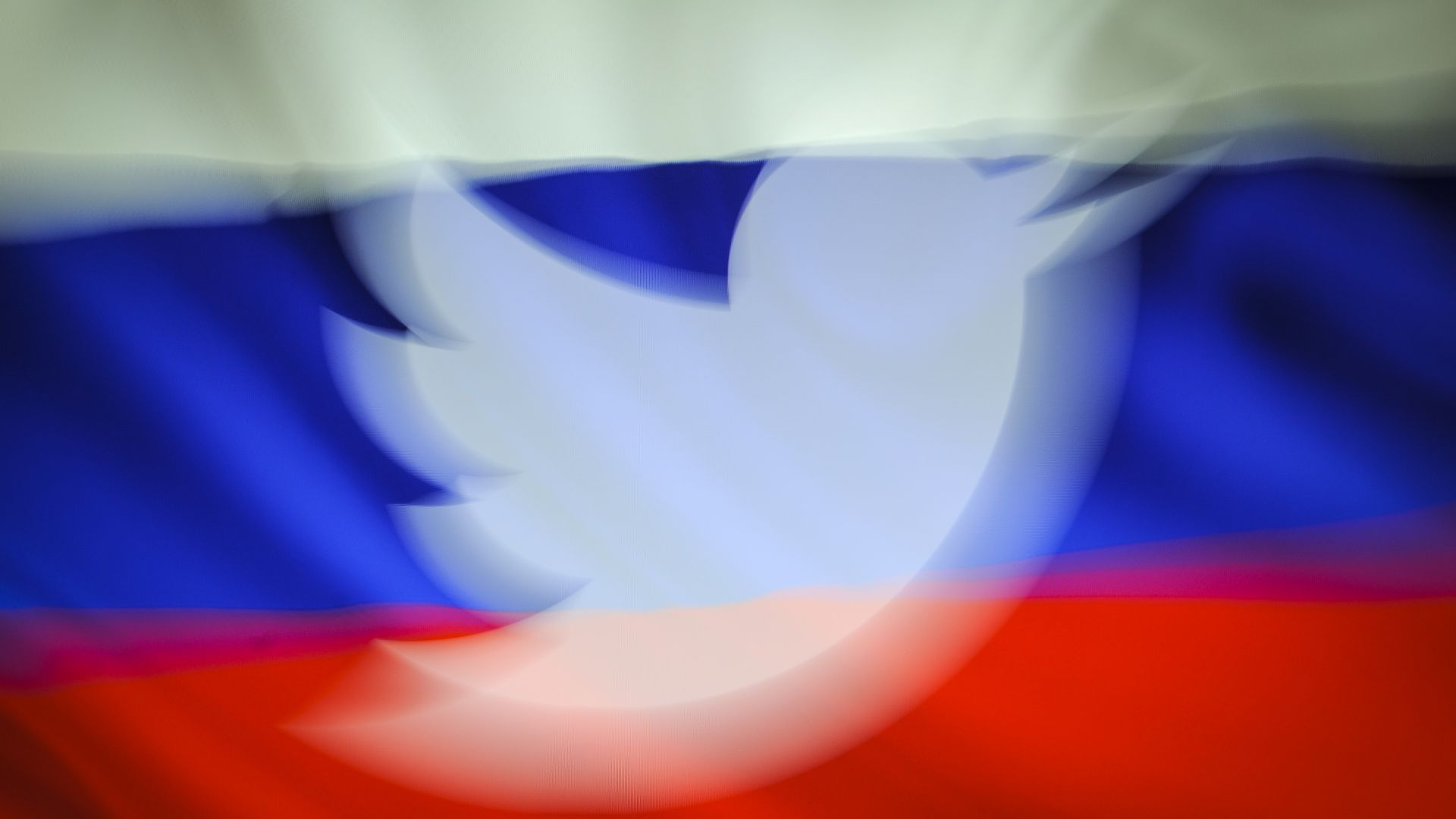 Twitter logo in Russia flag