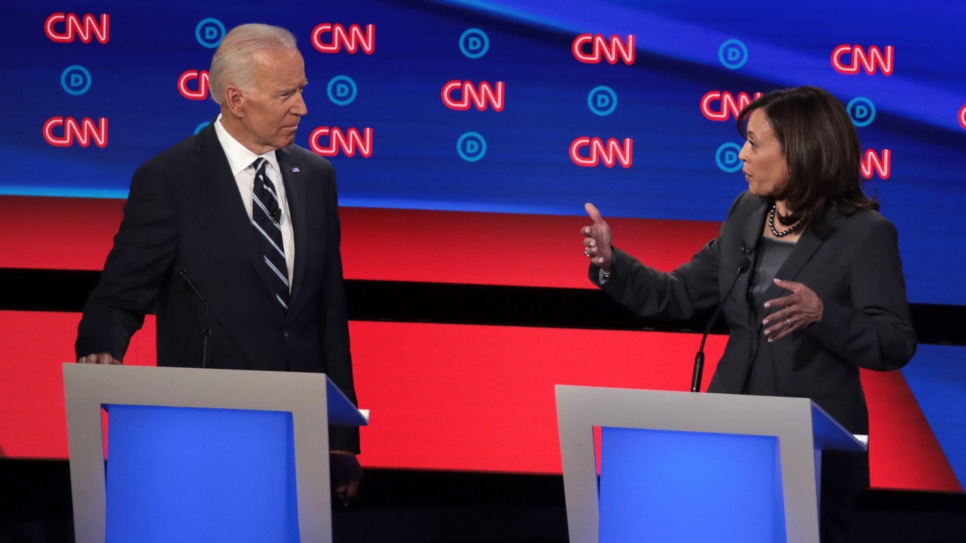 Former Vice President Joe Biden and Sen. Kamala Harris. Photo: Scott Olson/Getty Images