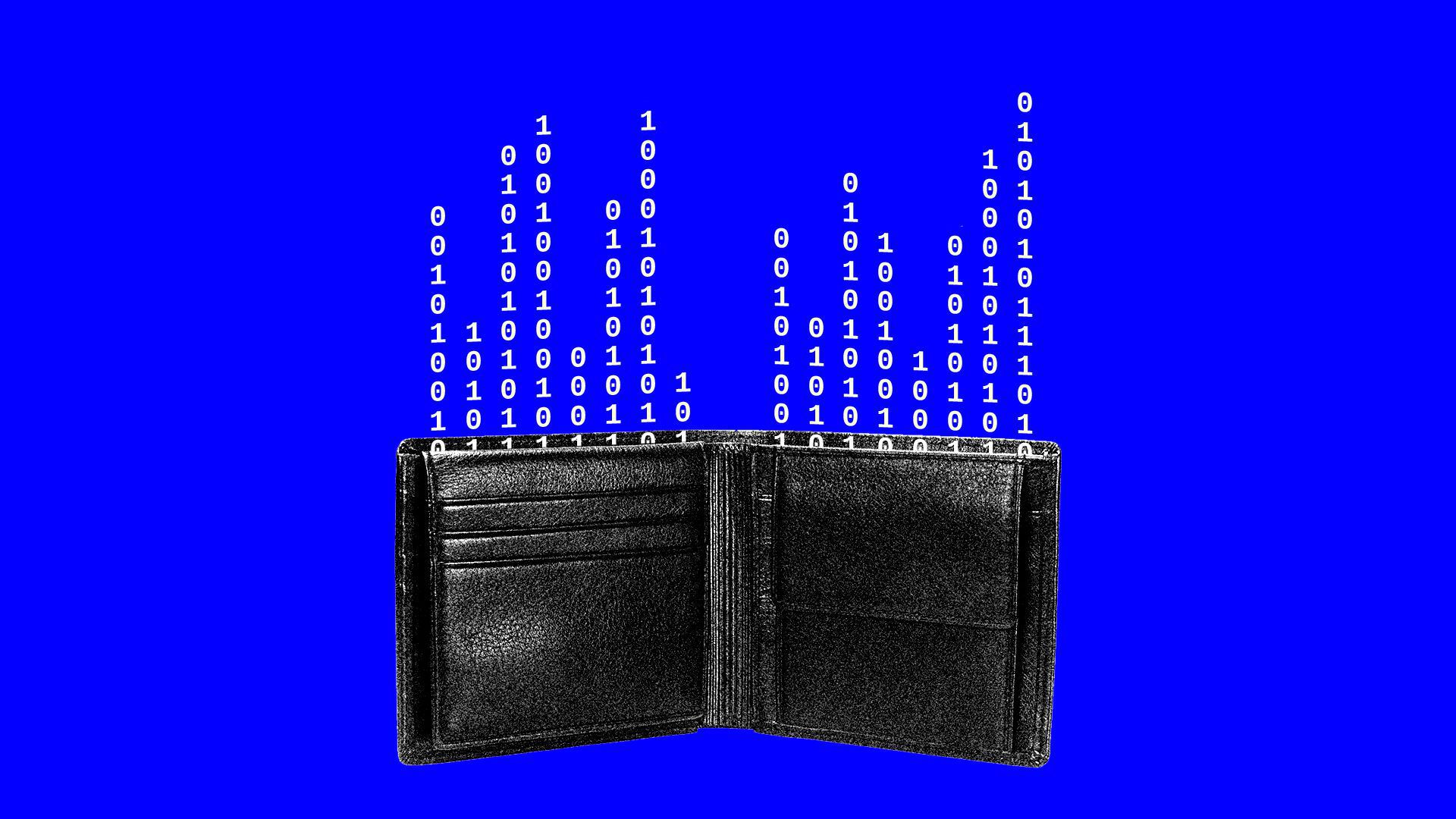 Illustration of wallet with binary code spilling out as it were money