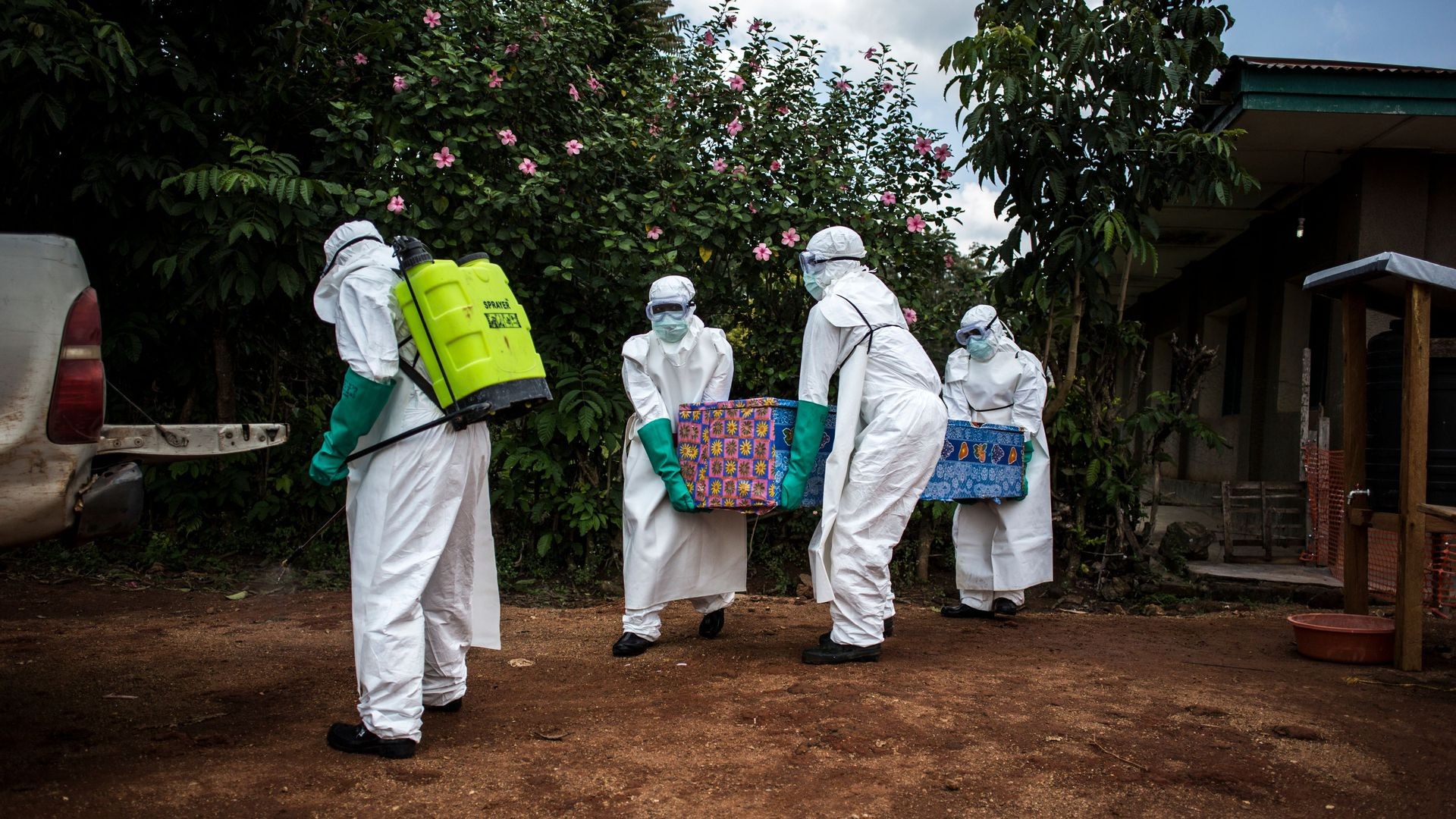 Doctors in hazmat suits in the Congo.