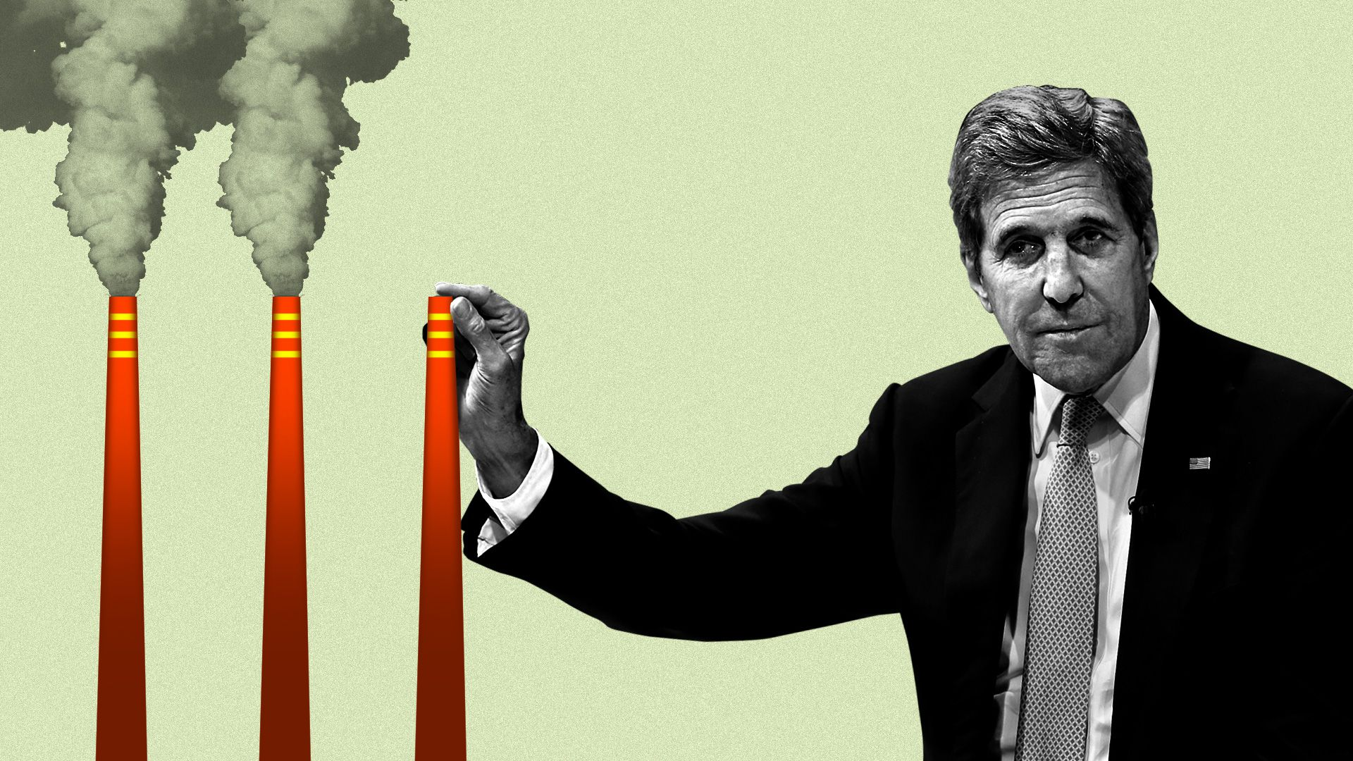 John Kerry plugging a smokestack with his finger