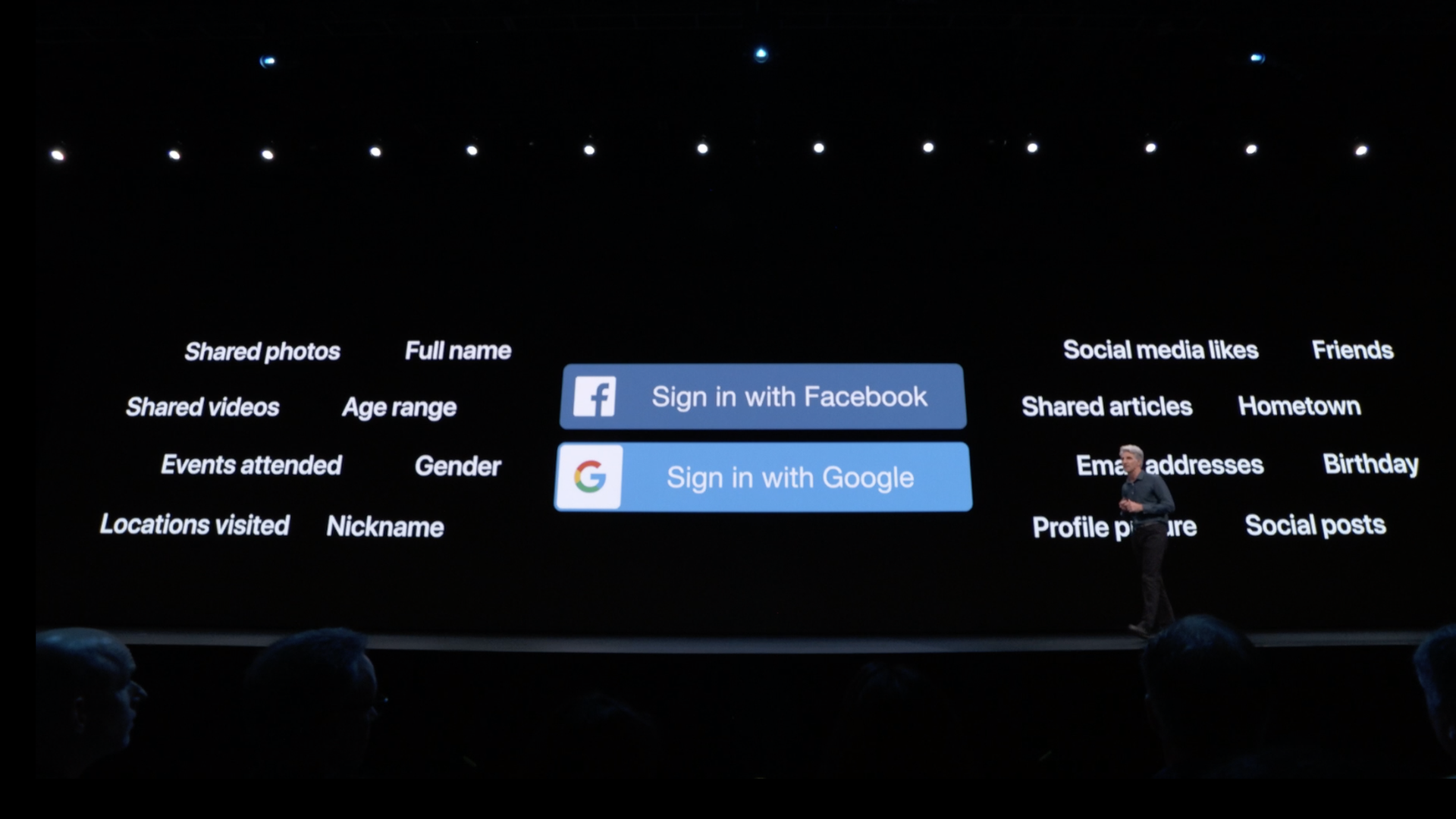Apple iOS chief Craig Federighi outlining some of the drawbacks of Facebook and Google's authentication systems at WWDC 2019