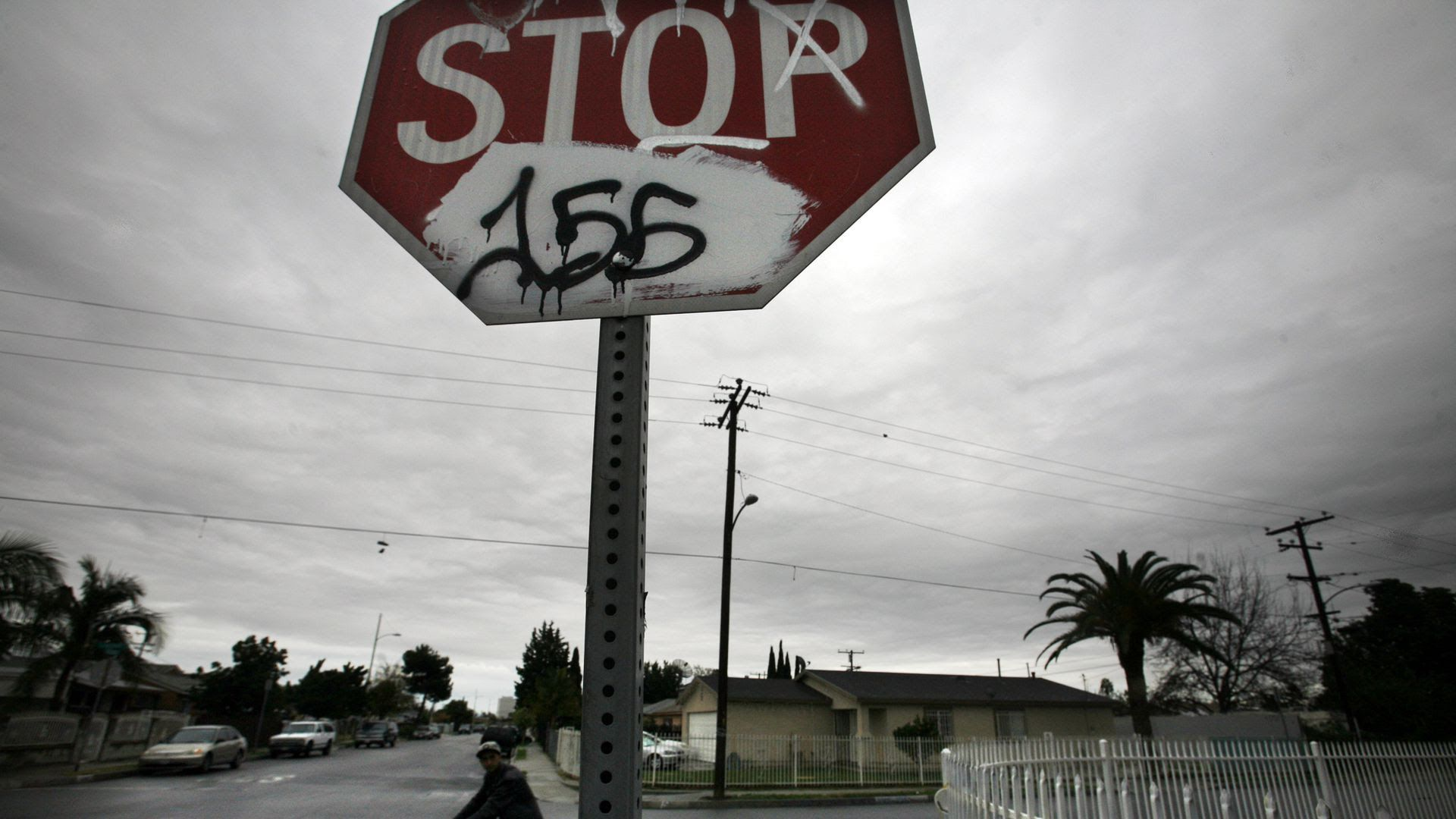 A gloomy stop sign