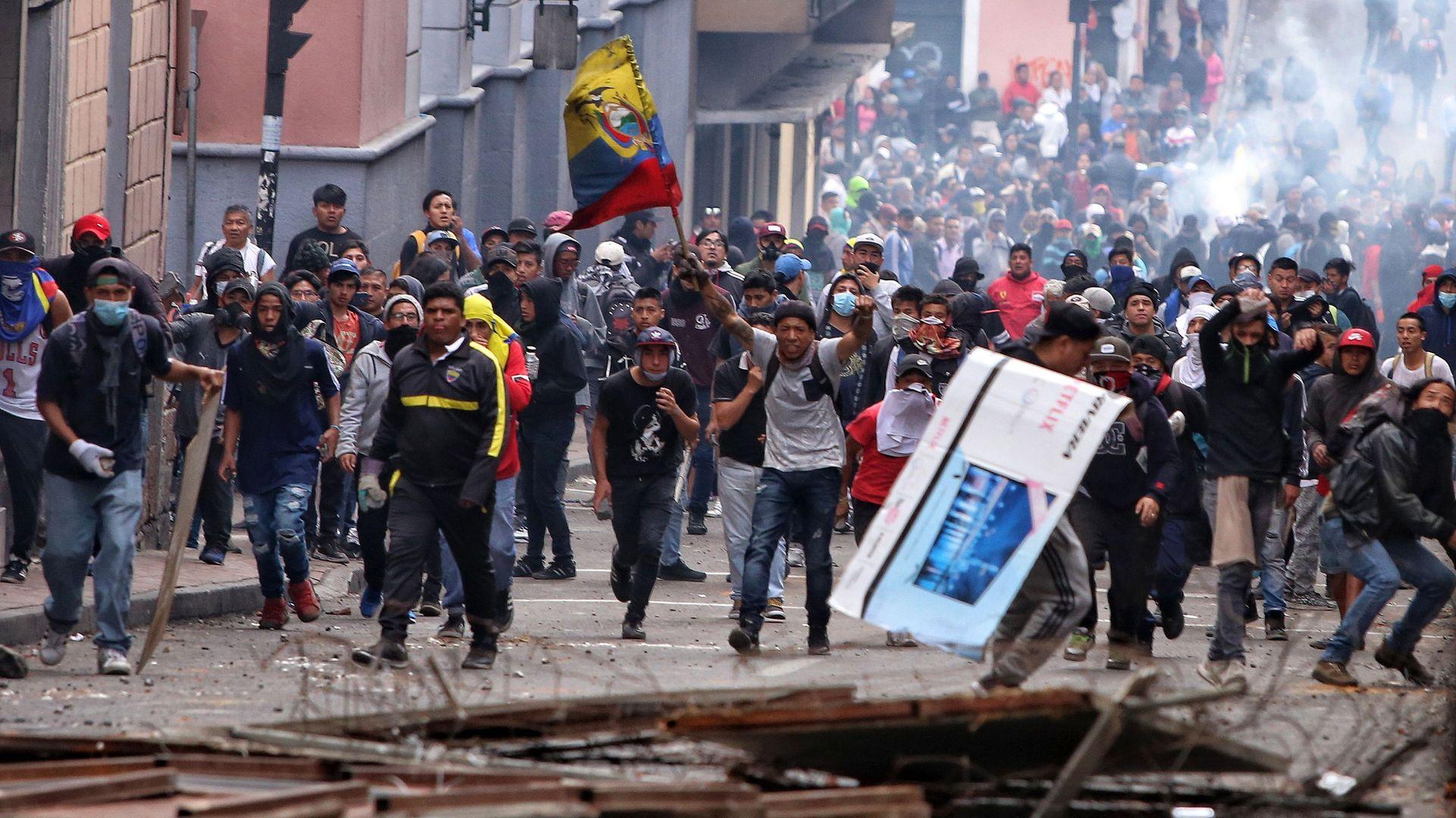 Protestors in Quito on Oct. 7.