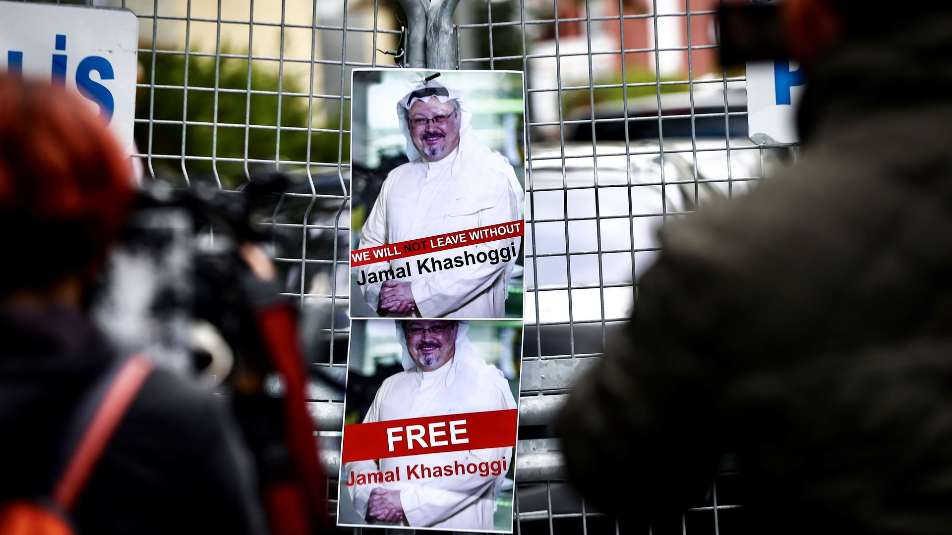 Signs for Jamal Khashoggi posted outside the Saudi consulate