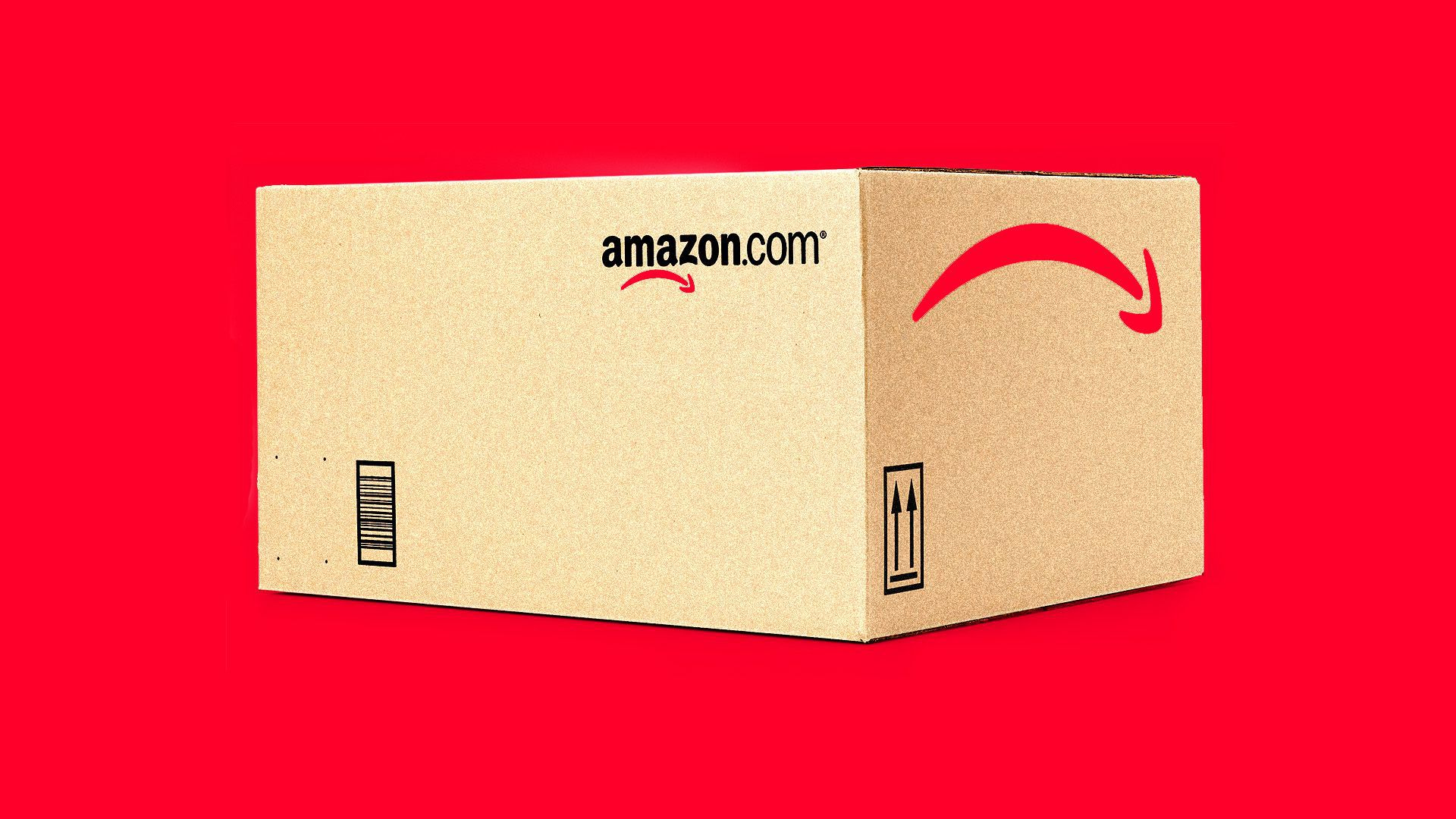 Illustration of Amazon box with red background