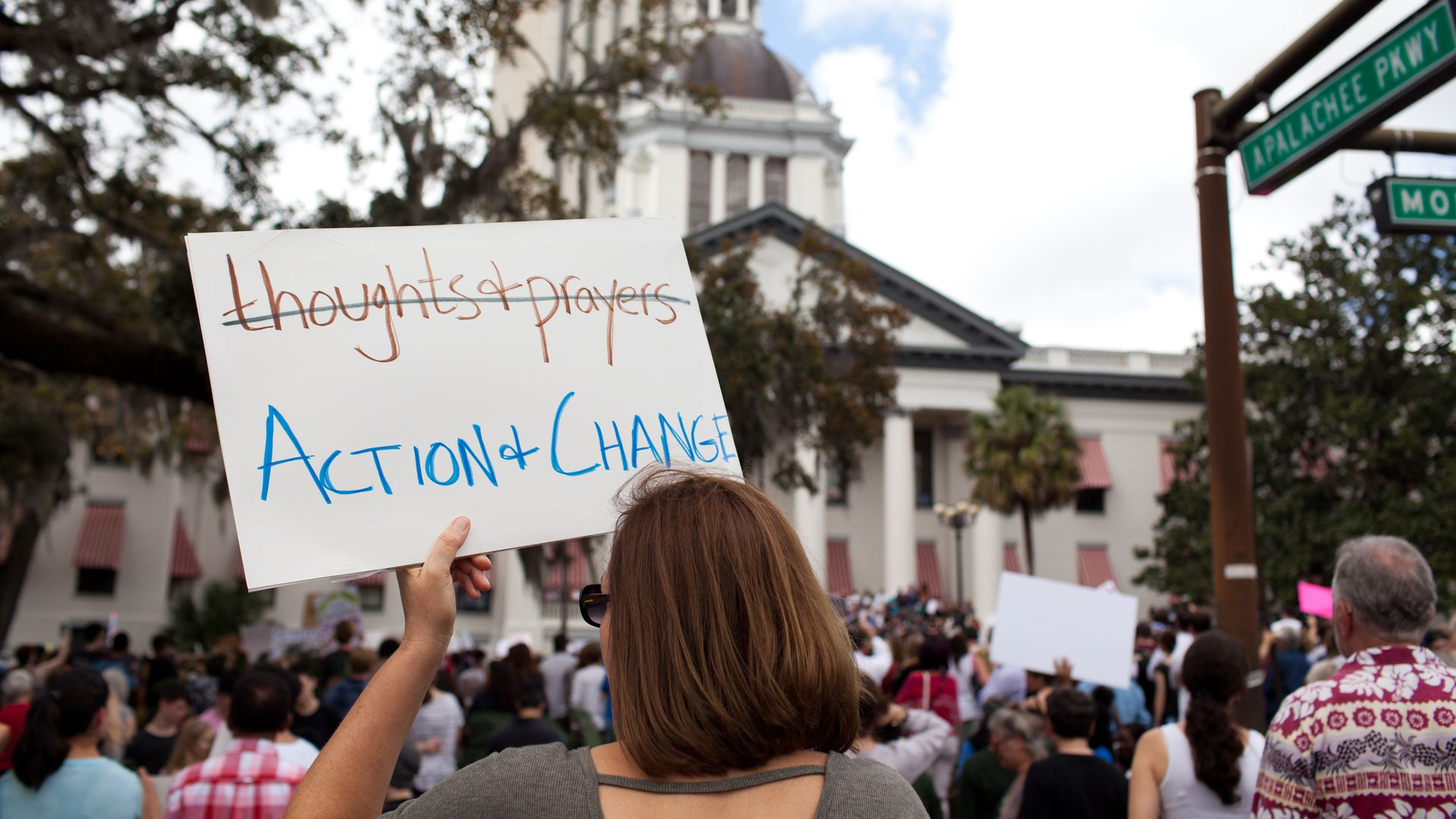 A protestor at Florida's State Capitol.