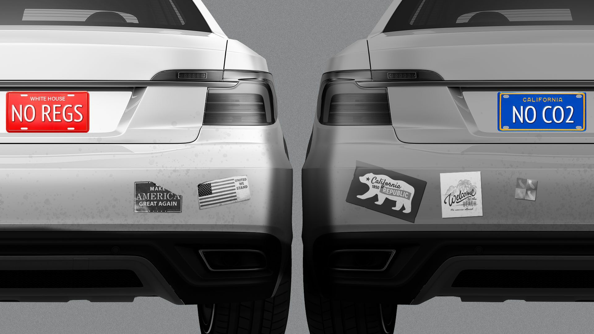 Illustration of two cars with varying bumper stickers arguing for or against carbon emissions and mileage rules