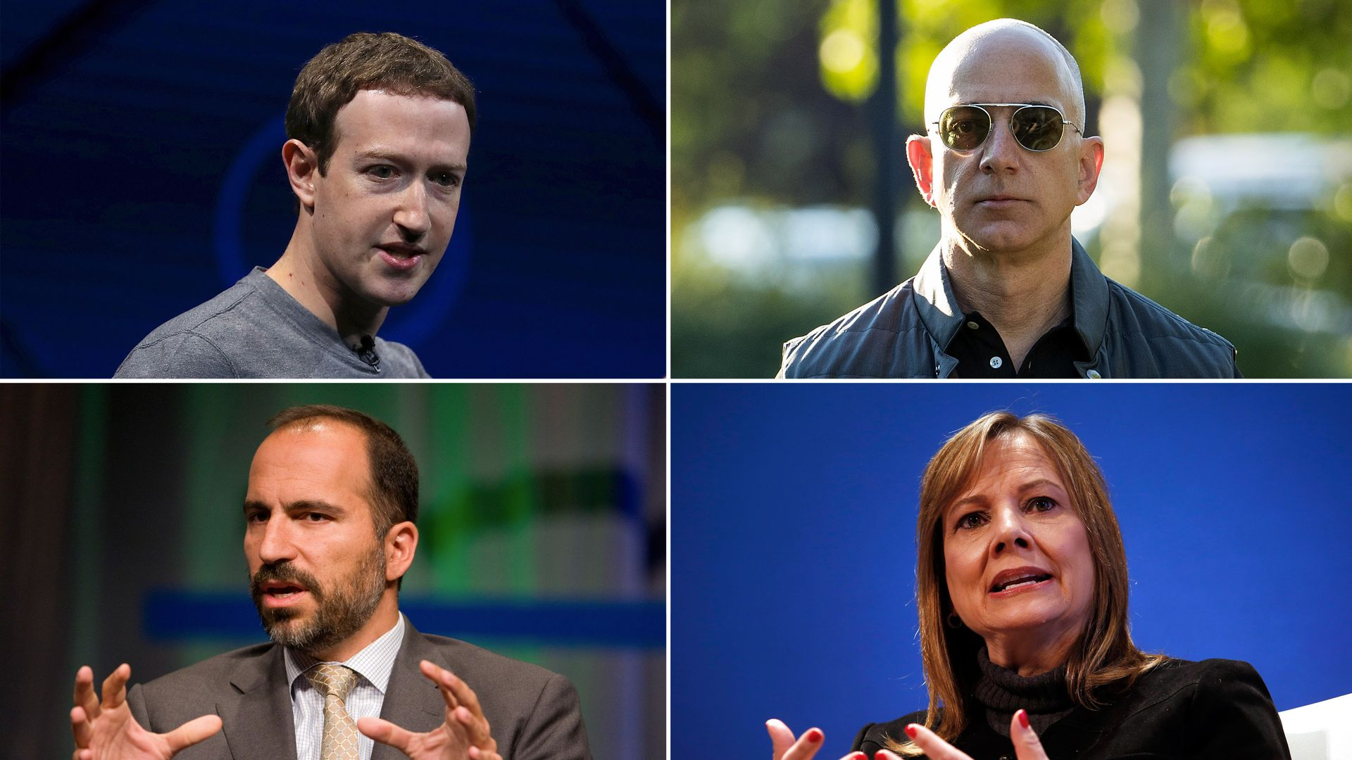 Zuckerberg, Bezos, Barra and Khosrowshahi
