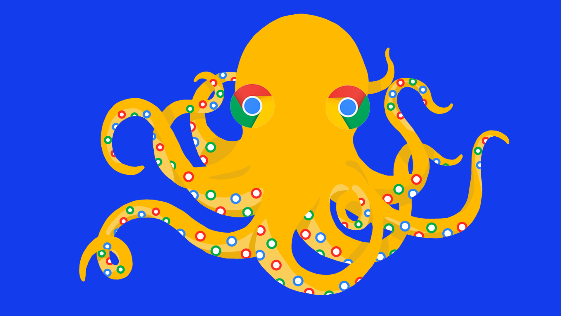 An octopus with Google Chrome logo on it