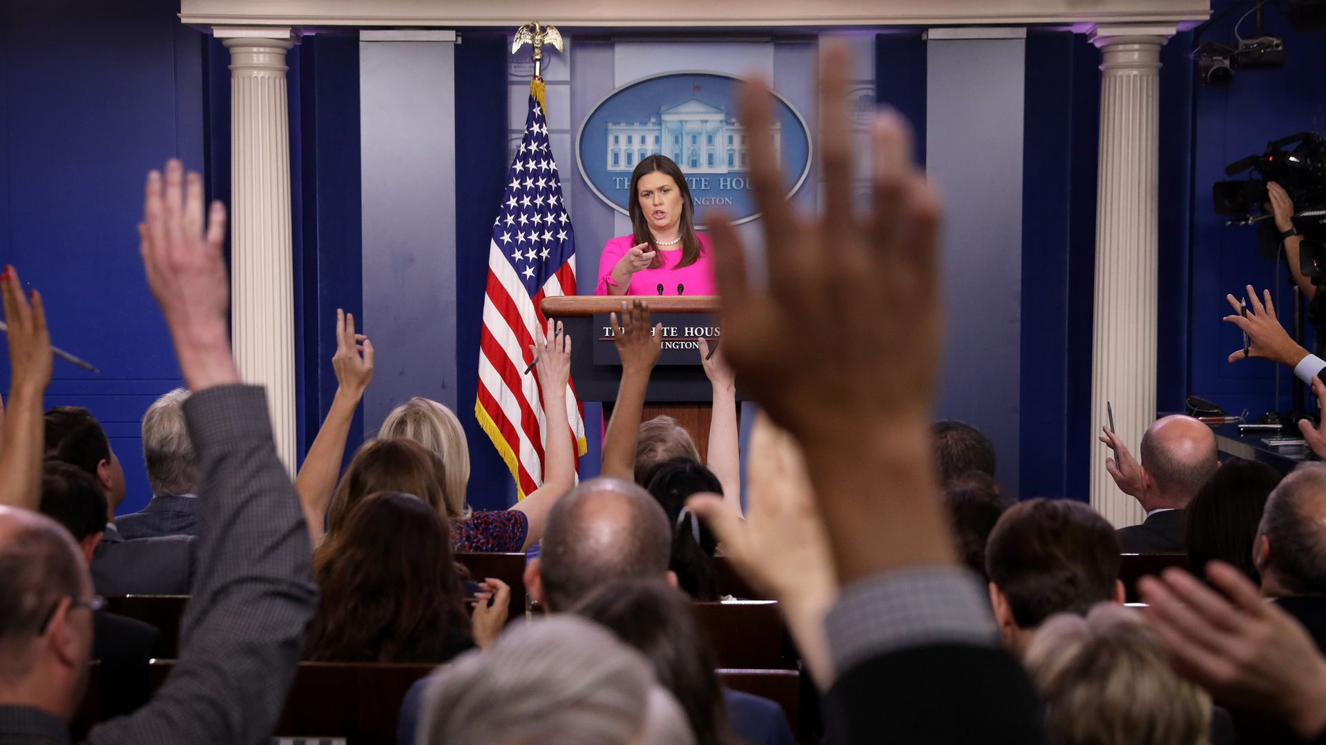 White House press secretary Sarah Huckabee Sanders answers questions during a White House briefing June 25, 2018 in Washington, DC.