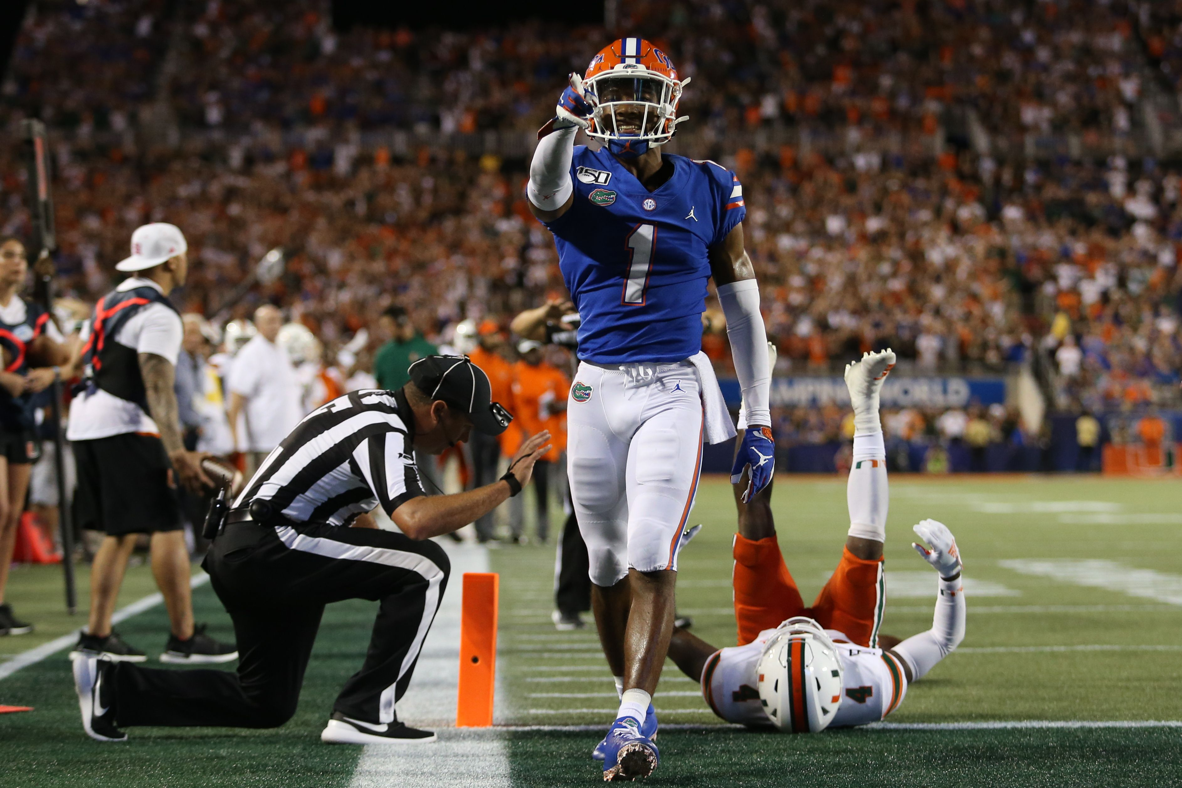 Florida player points at camera