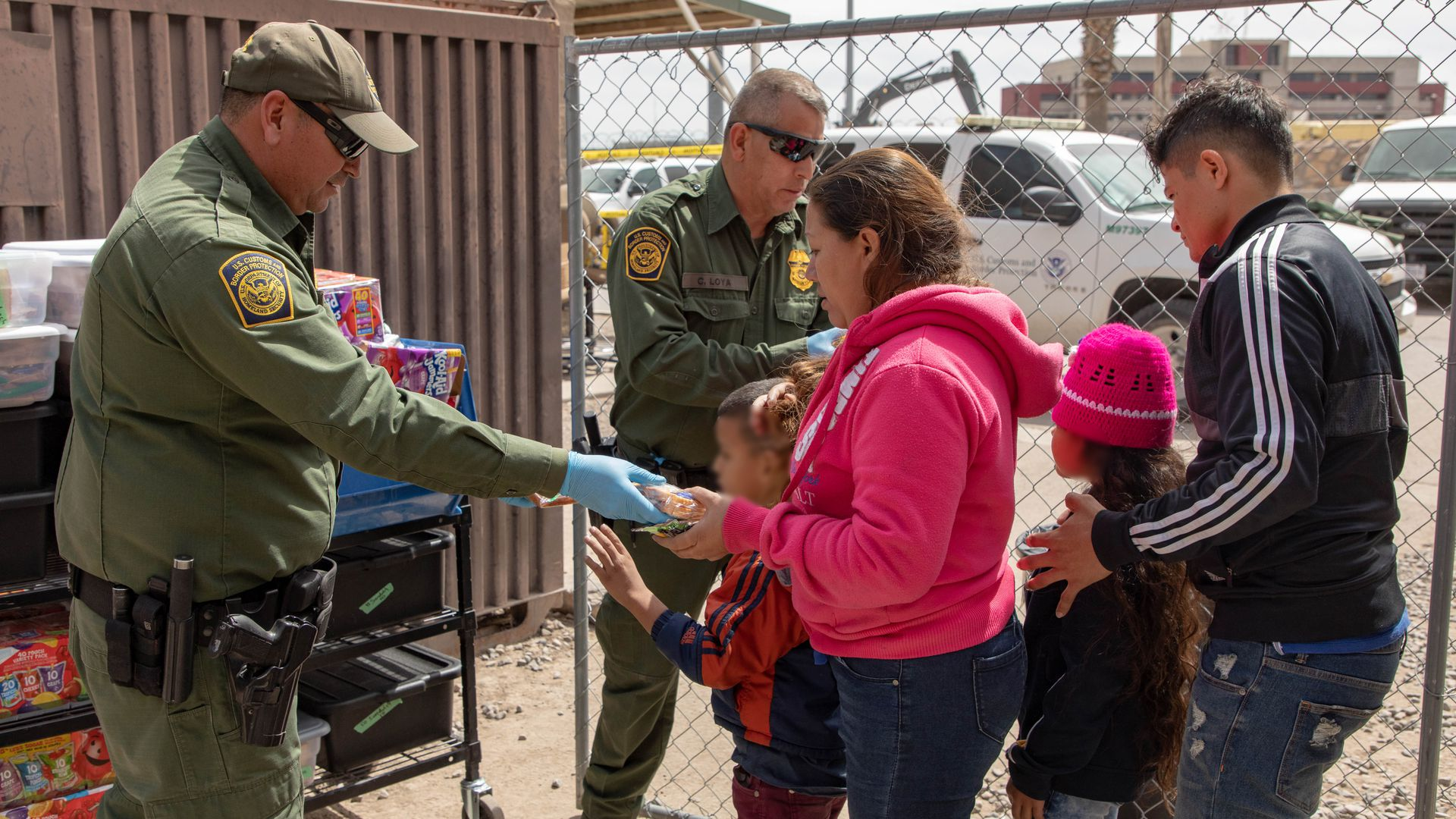 Border patrol agents encountering immigrants at the southern border.