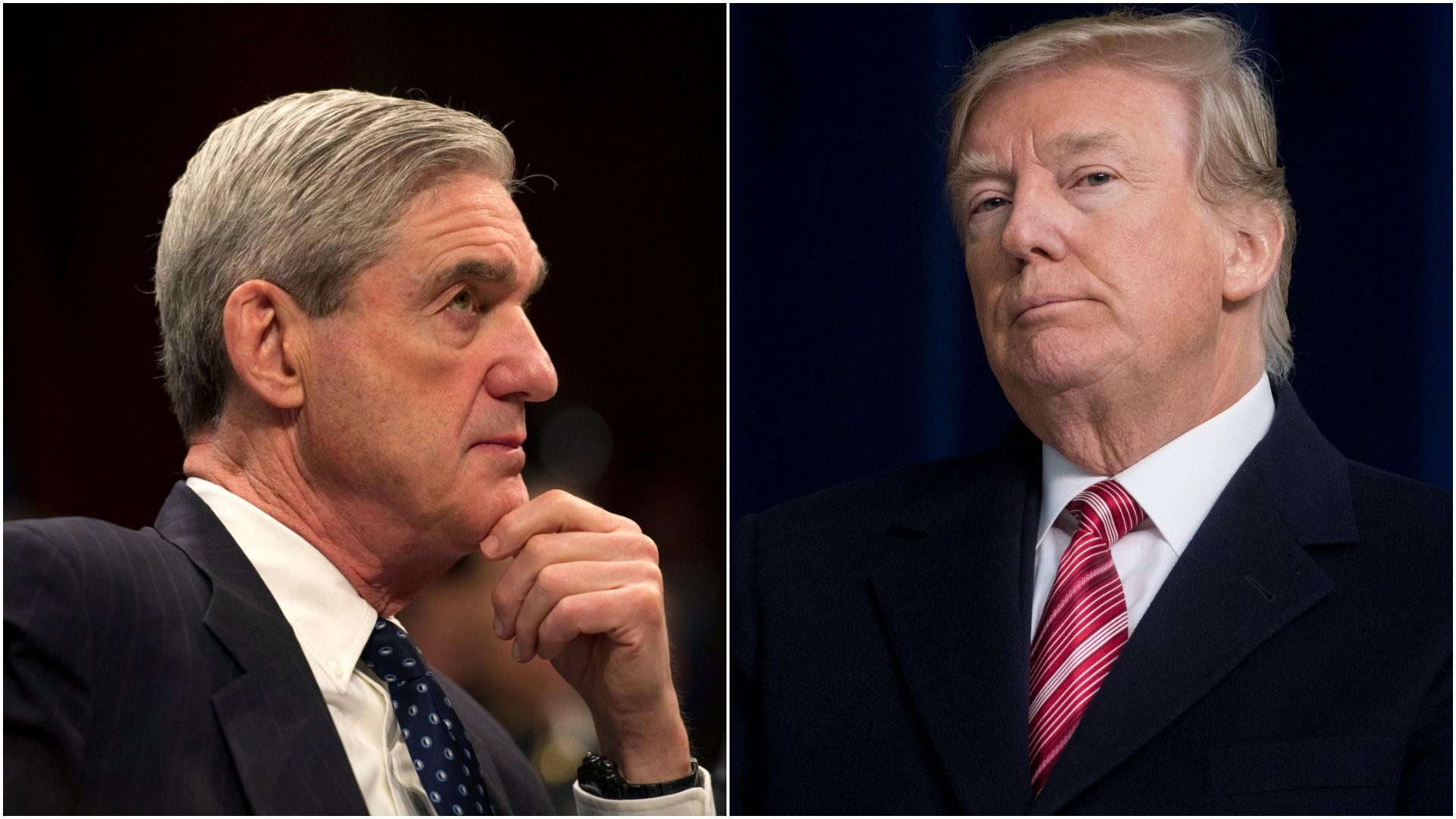 A split image of Robert Mueller and President Trump